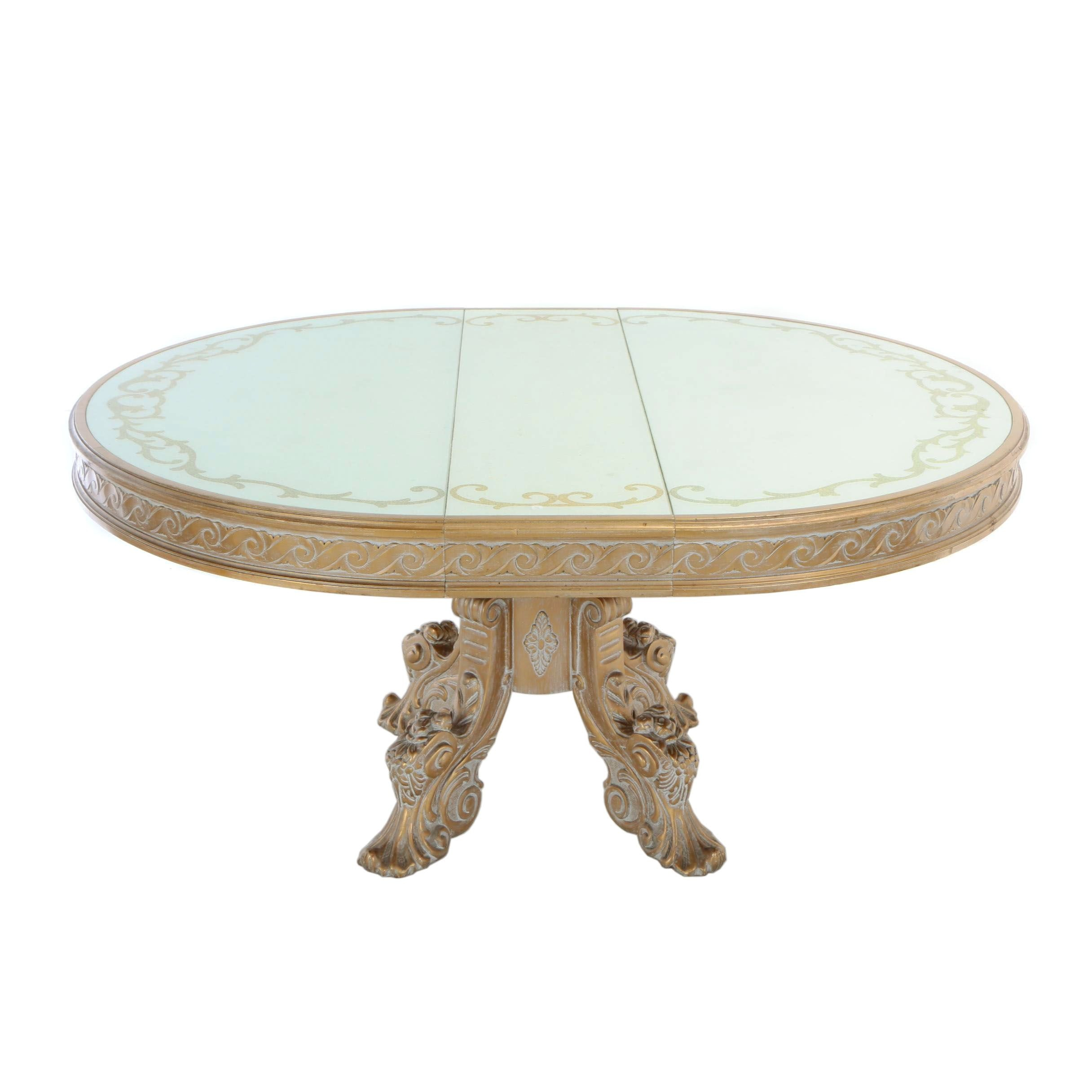 Baroque Style Giltwood Extending Dining Table with Pearlescent Glass Top