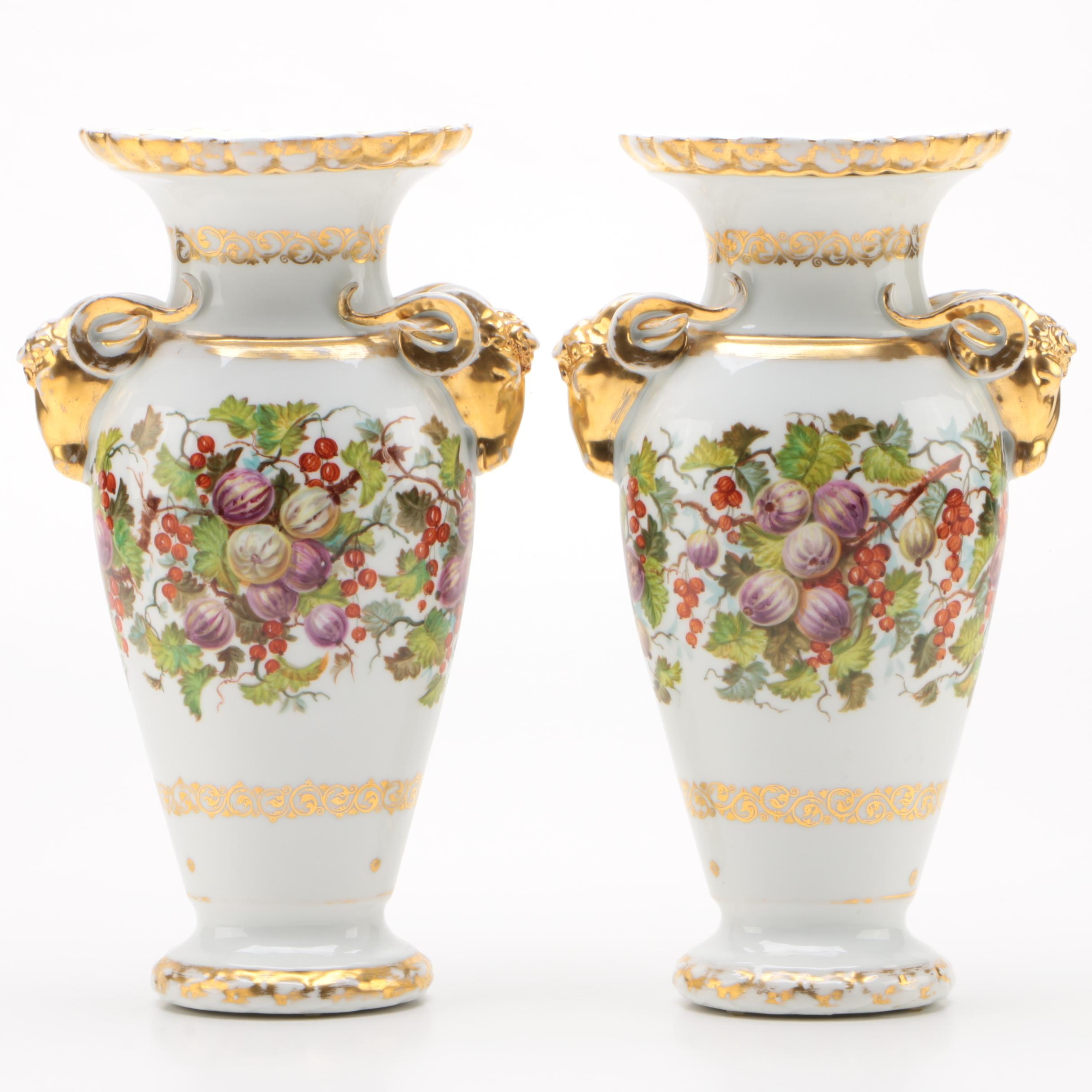 Gilded Porcelain Vases with Ram Head Handles, Late 19th/Early 20th Century