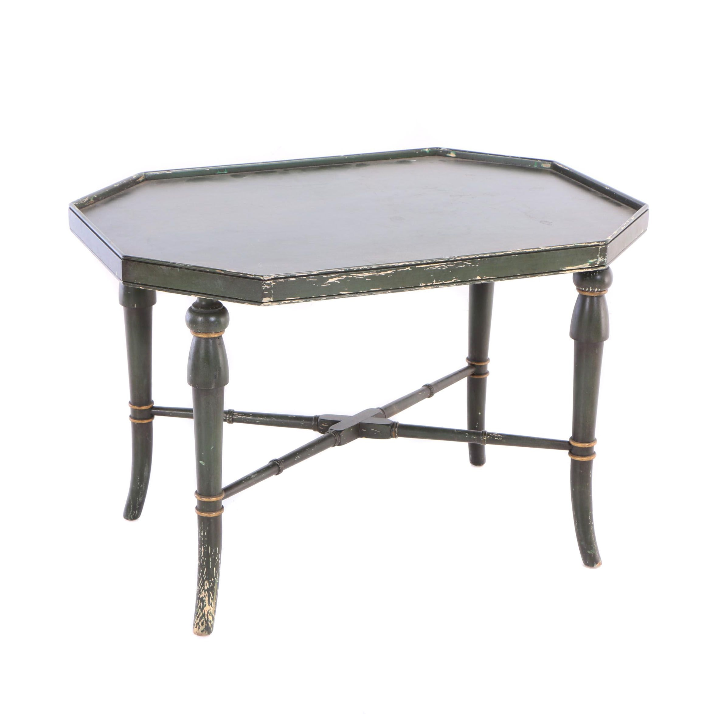 Green-Painted and Parcel-Gilt Side Table or Tray Stand, Late 20th Century