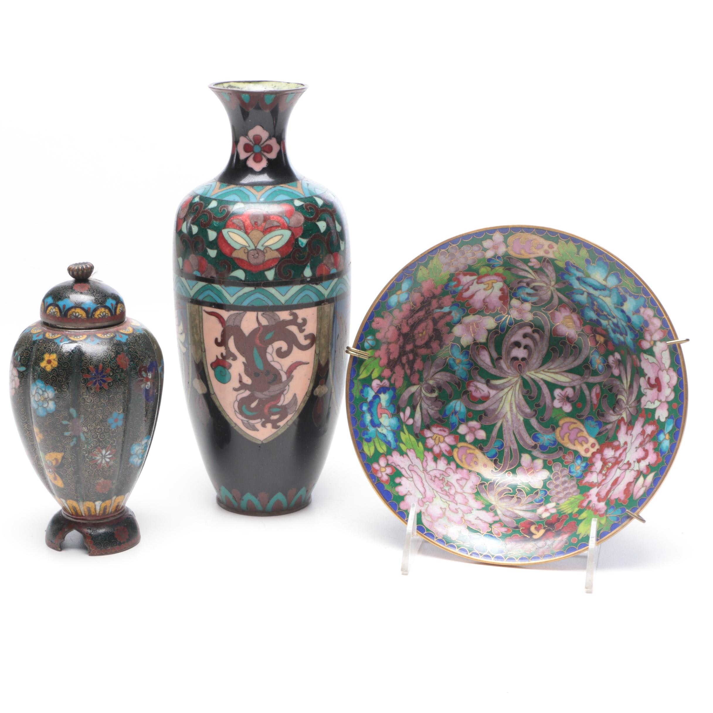 Japanese Cloisonné Vase and Lidded Jar with Chinese Cloisonné Bowl