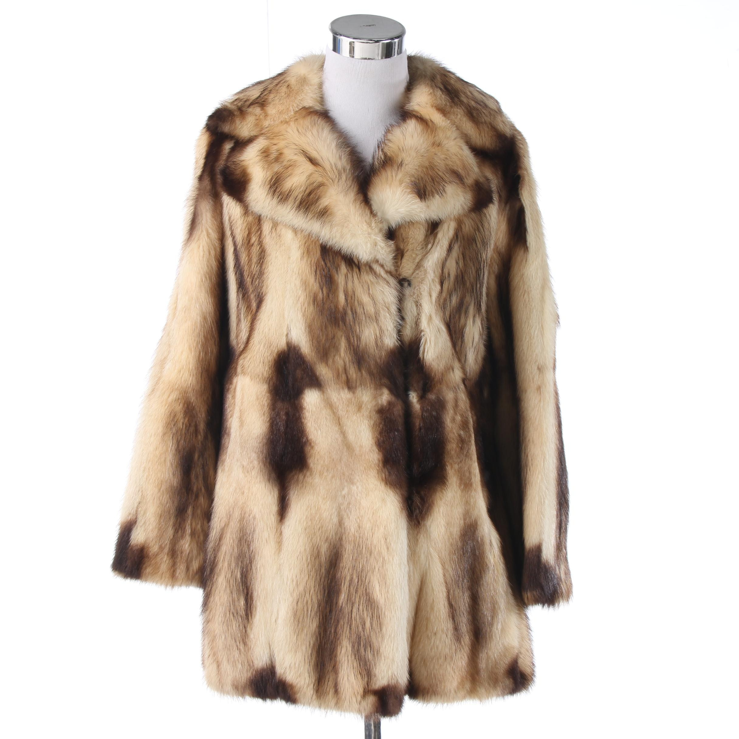 Davellin New York Fitch Fur Coat, 1970s Vintage