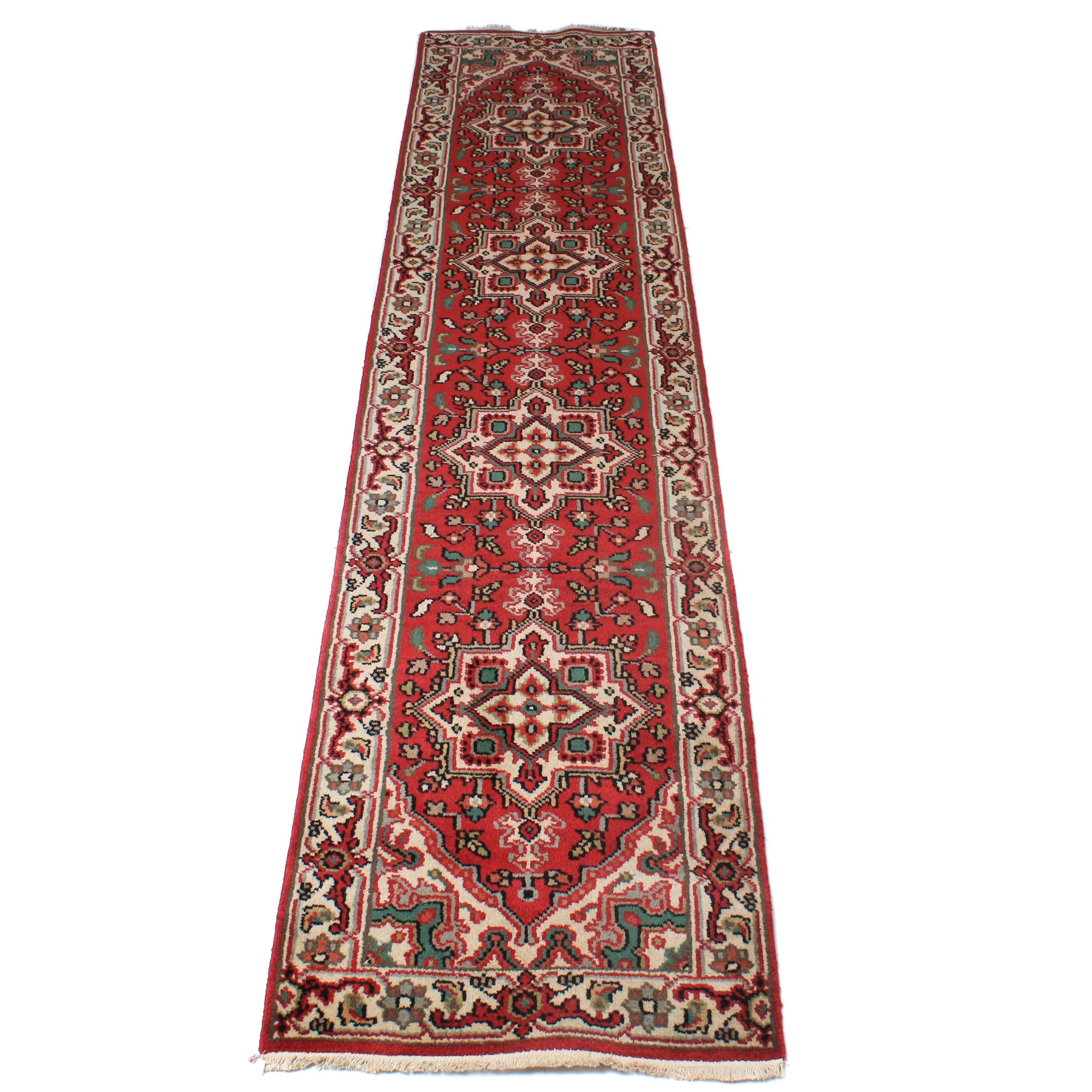 Hand-Knotted Persian Heriz Carpet Runner
