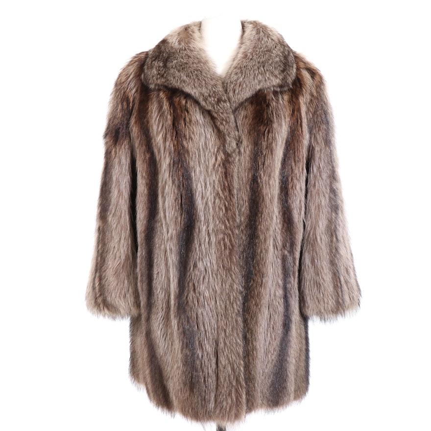 American Raccoon Fur Stroller Coat