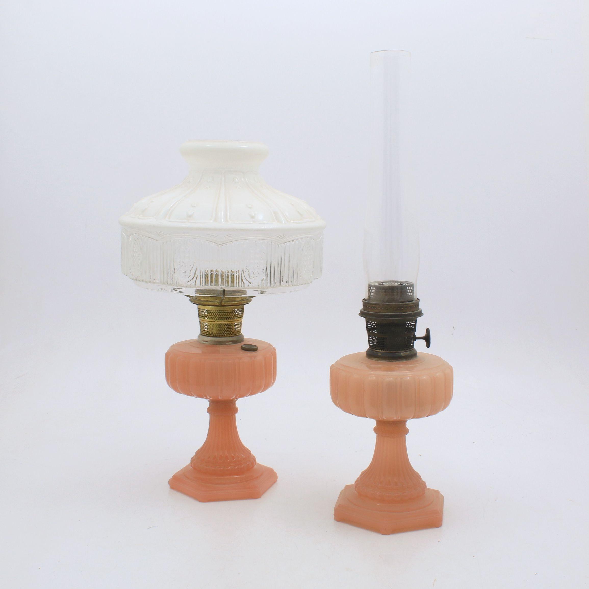 Aladdin Depression Glass Oil Lamps, Early 20th Century