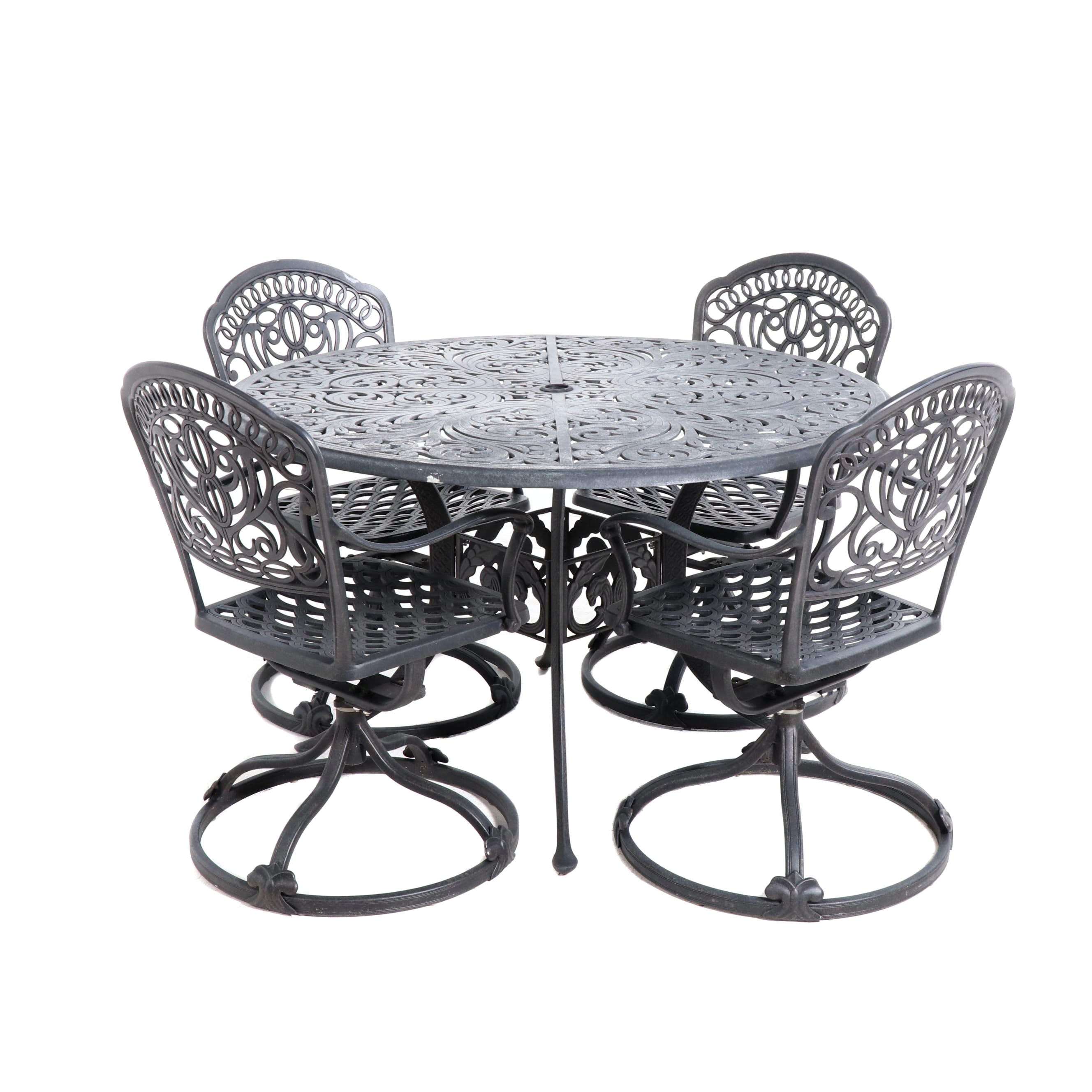 Faux Cast Iron Metal Patio Table and Four Chairs