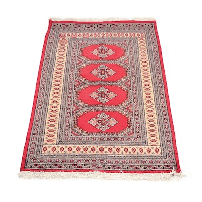 Hand-Knotted Pakistani Chenar Bokhara Wool Area Rug