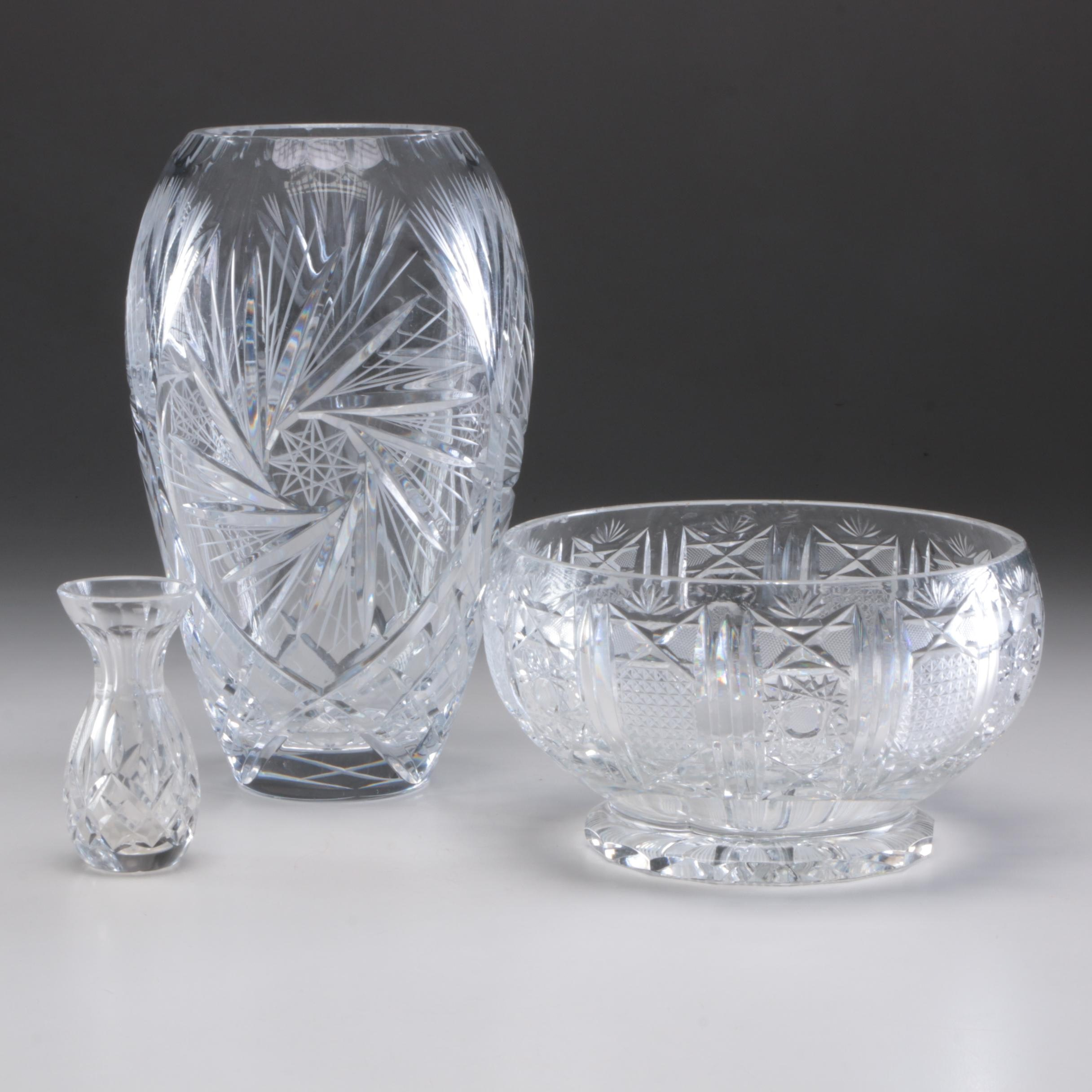 Cut Crystal and Cut Glass Vases and Centerpieces