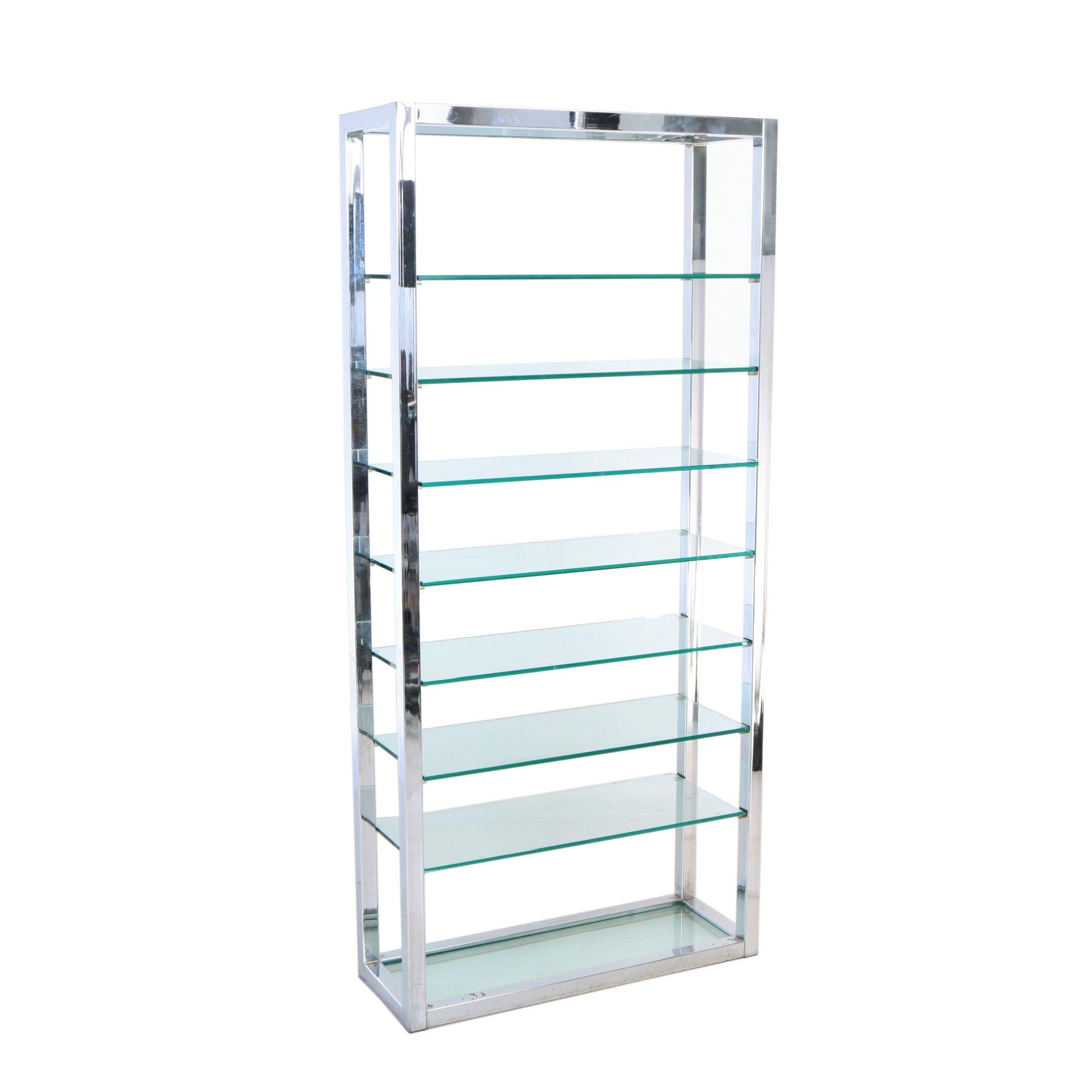 Modernist Chromed-Metal and Glass Étagère, Second Half 20th Century