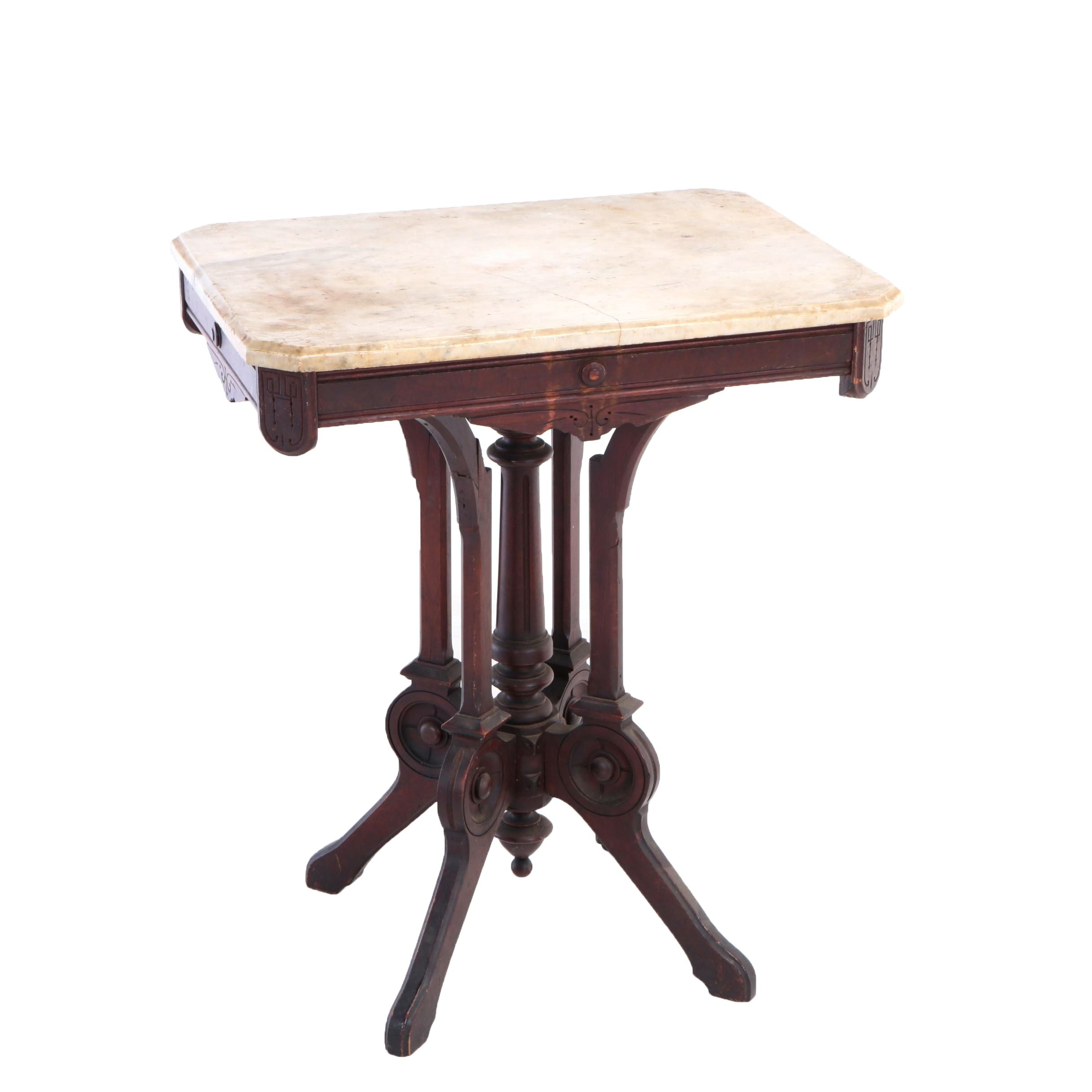 Victorian Carved Walnut And White Marble Side Table, Late 19th Century |  EBTH