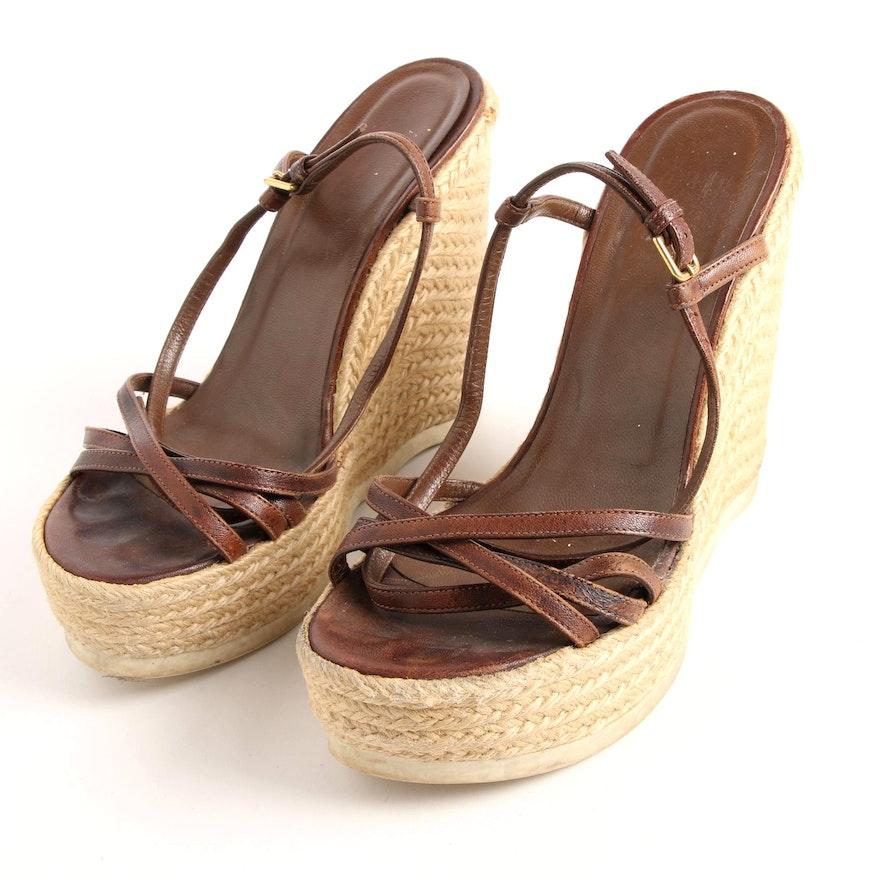 9b4b7a42da1 Yves Saint Laurent Platform Espadrille Brown Leather Sandals | EBTH