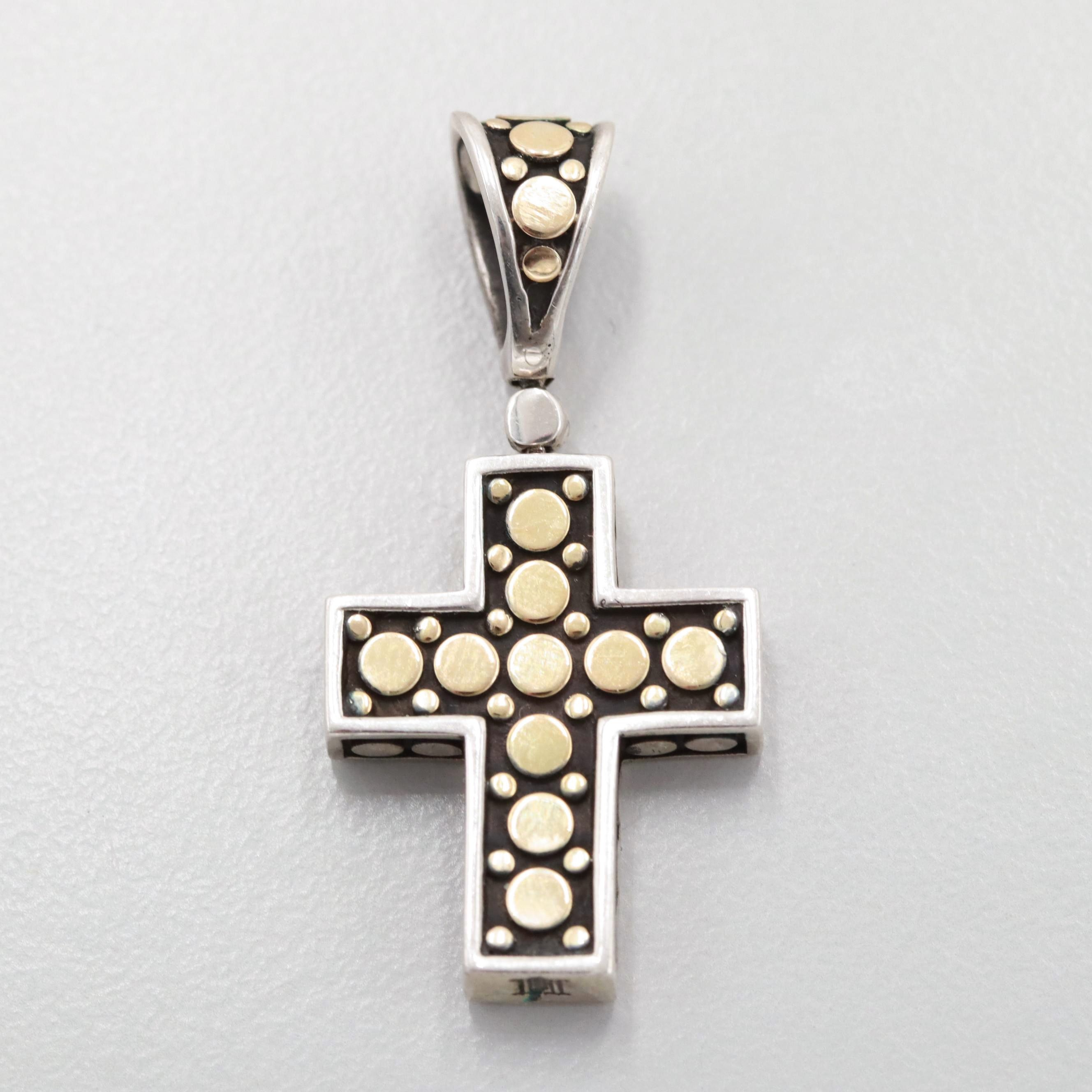 John Hardy Sterling Silver Cross Pendant with 18K Yellow Gold Accents