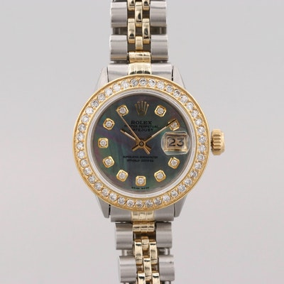 Rolex Datejust Stainless Steel, 14K Yellow Gold and Diamond Wristwatch, 1968
