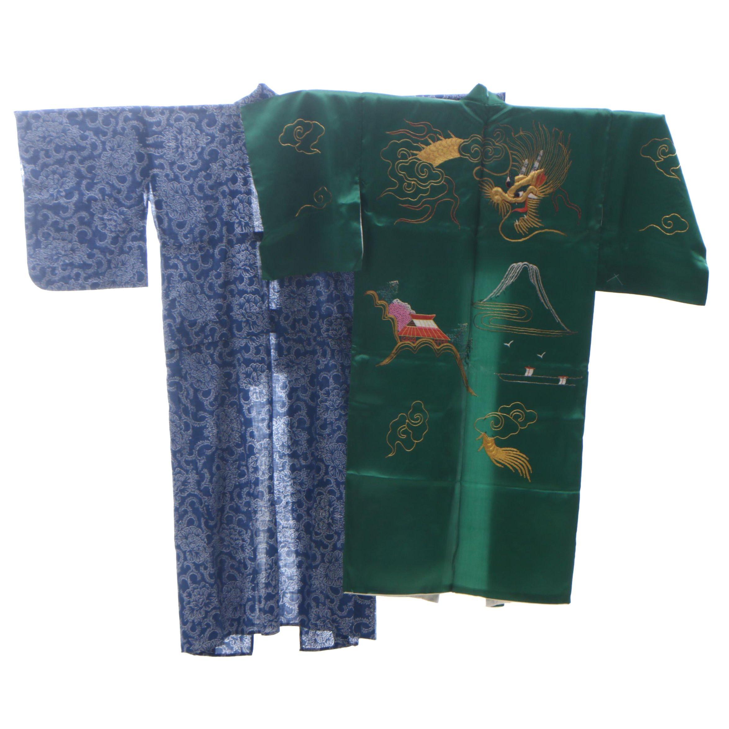 Blue Cotton Yukata with Embroidered Silk Satin Kimono-Style Robe, Mid-Century