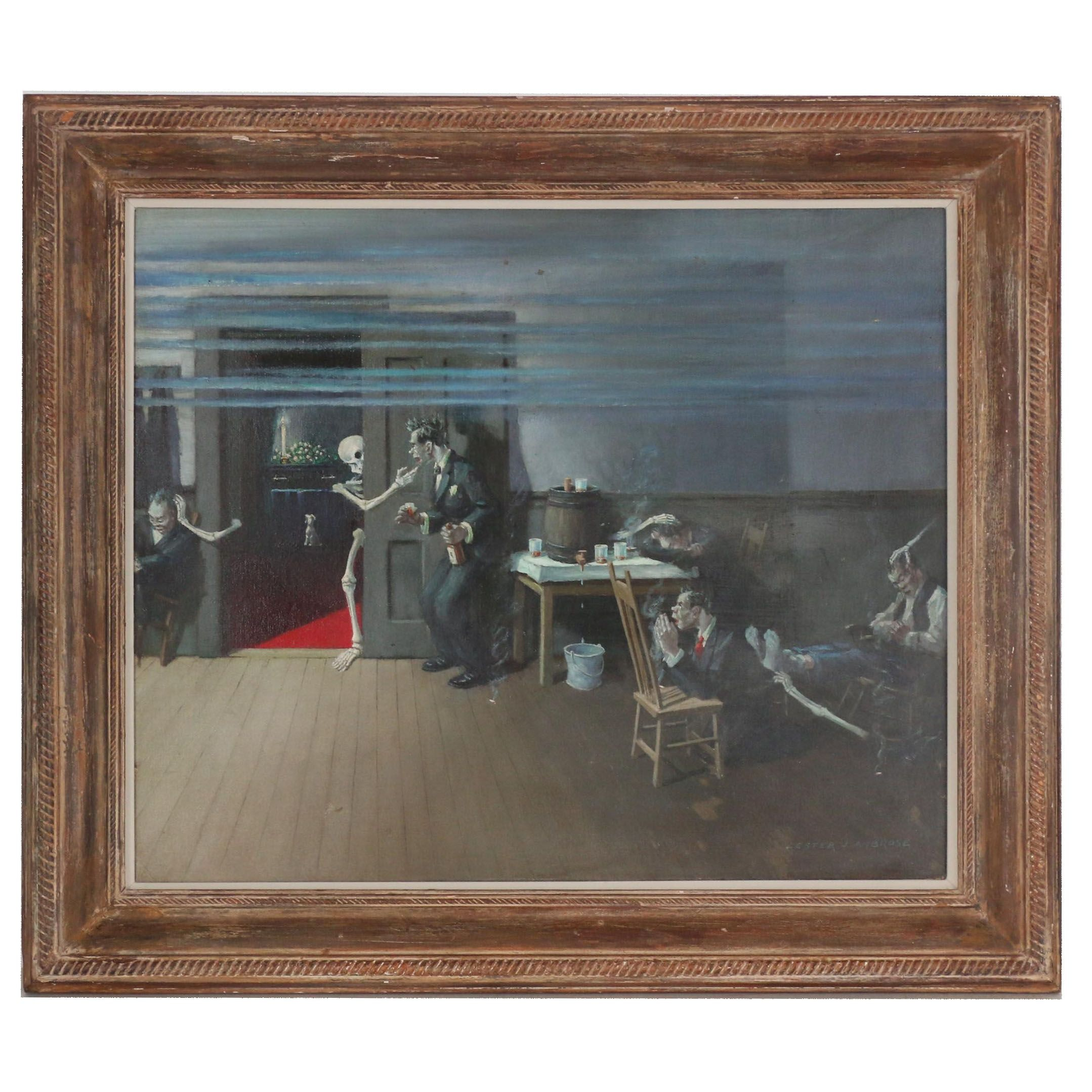 Lester J. Ambrose Oil Painting of Surrealist Interior Scene of Funeral Home