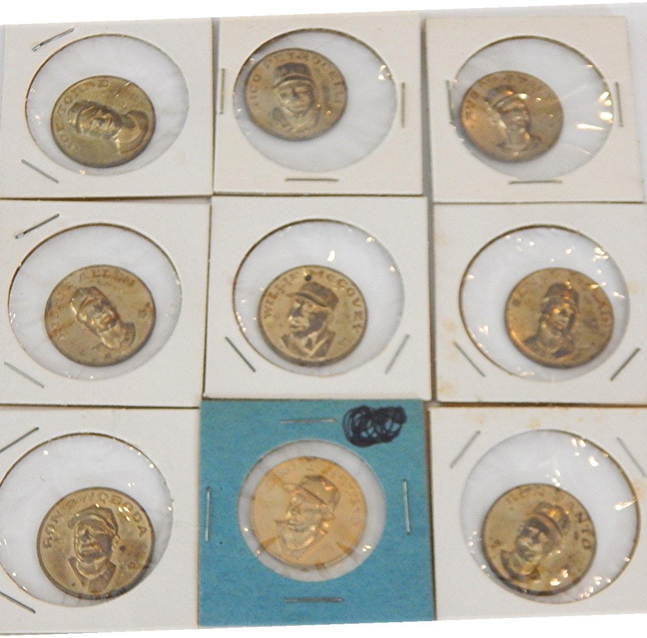 1969 Citgo Centennial Series Baseball Coins with Santo, McCovey, Bunning - 9 Ct