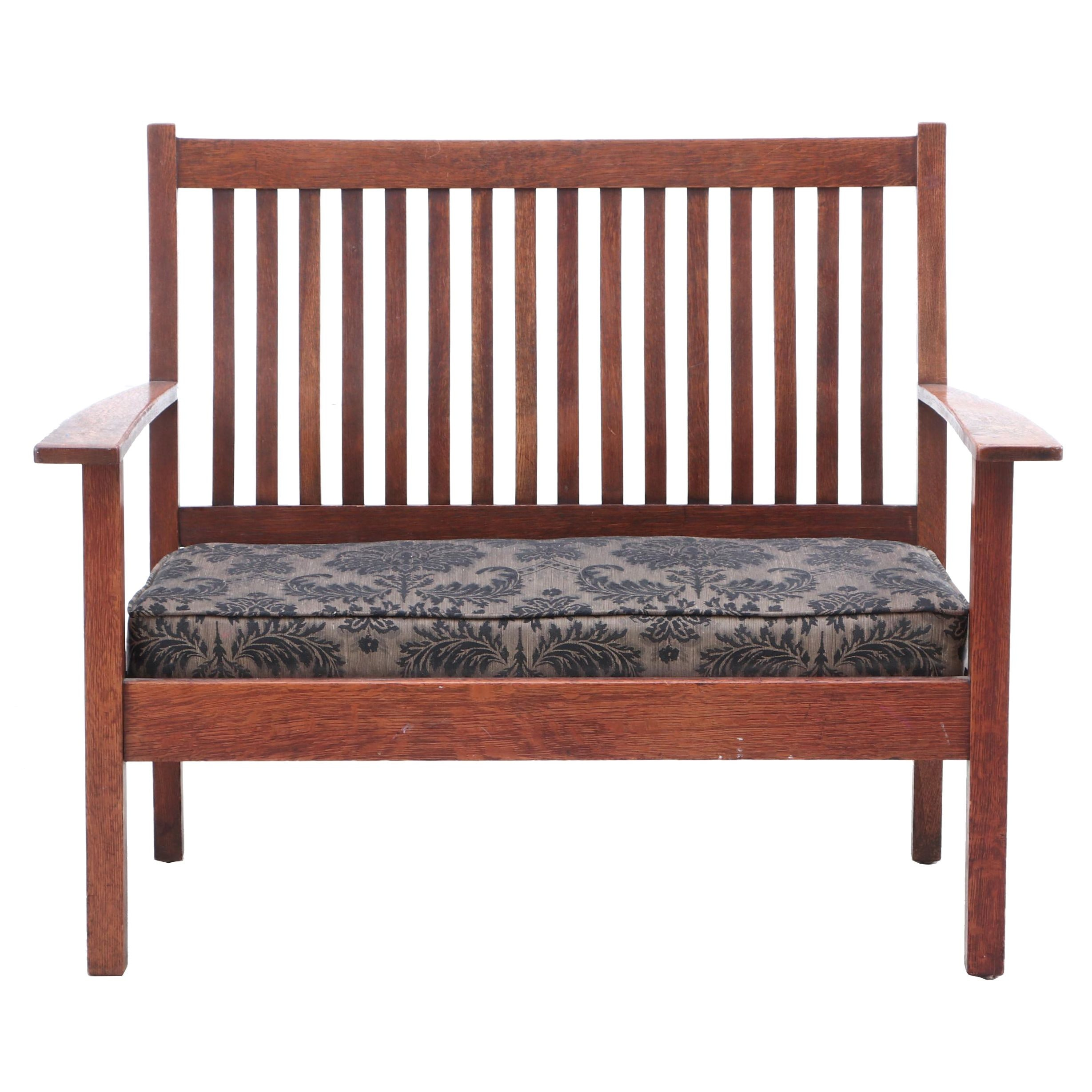 Mission Oak Padded Upholstered Bench, 1910s