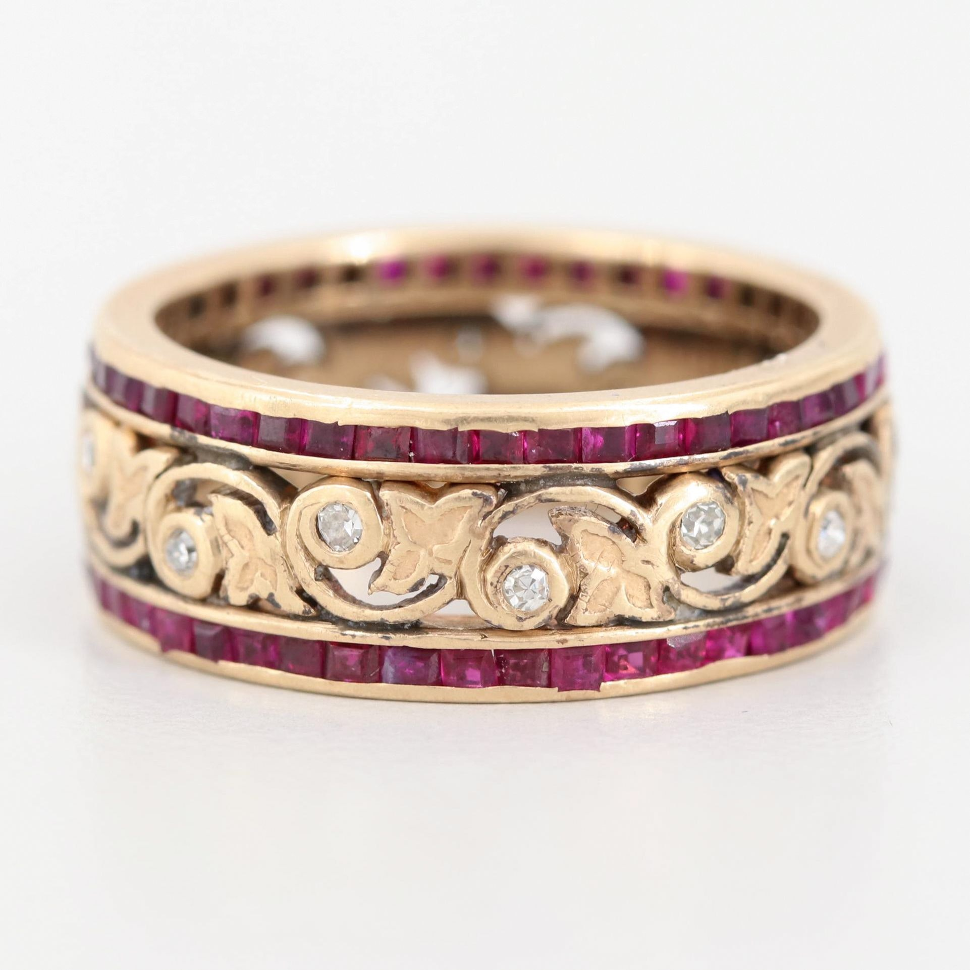 14K Yellow Gold Ruby and Diamond Scroll Work Eternity Ring
