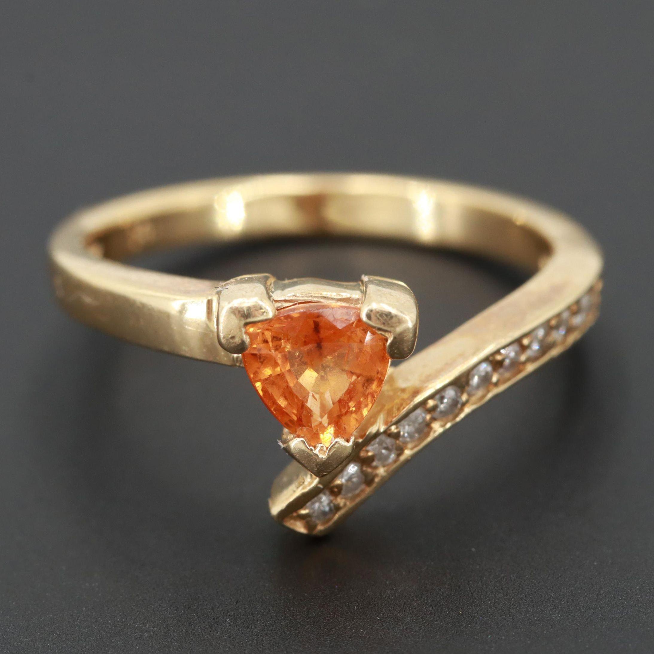 14K Yellow Gold Spessartine Garnet and Diamond Bypass Ring
