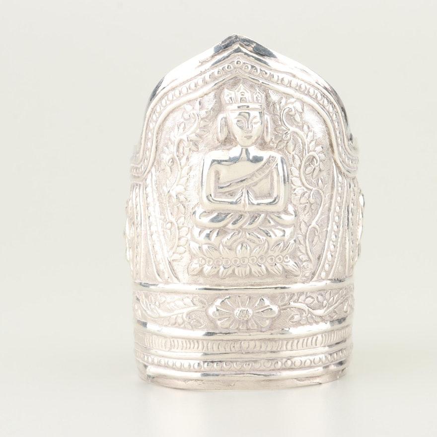 Sterling Silver Carved Cuff Bracelet