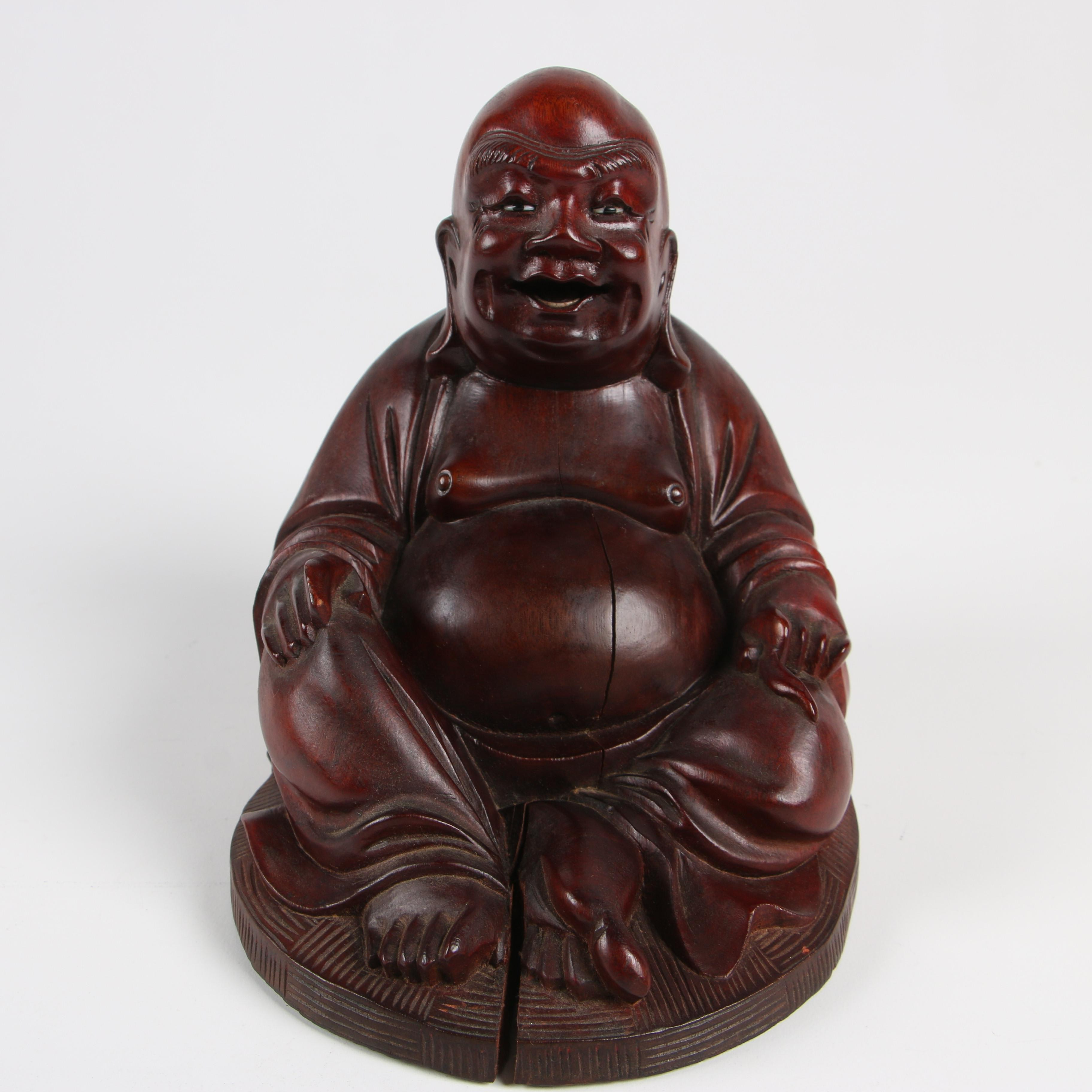 Chinese Carved Wood Seated Budai