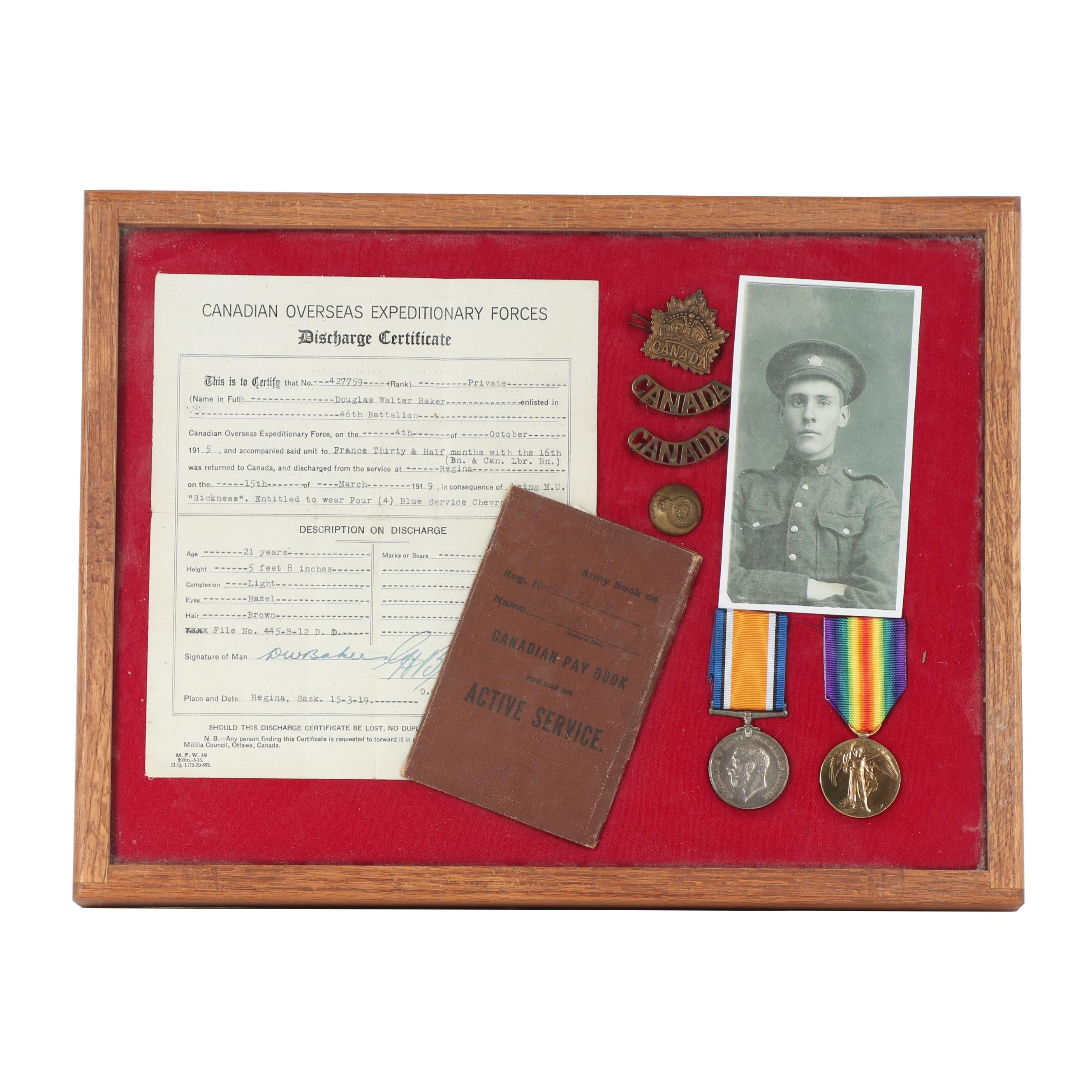 WWI Era Canadian Expeditionary Force Discharge Papers with Medals and Insignia