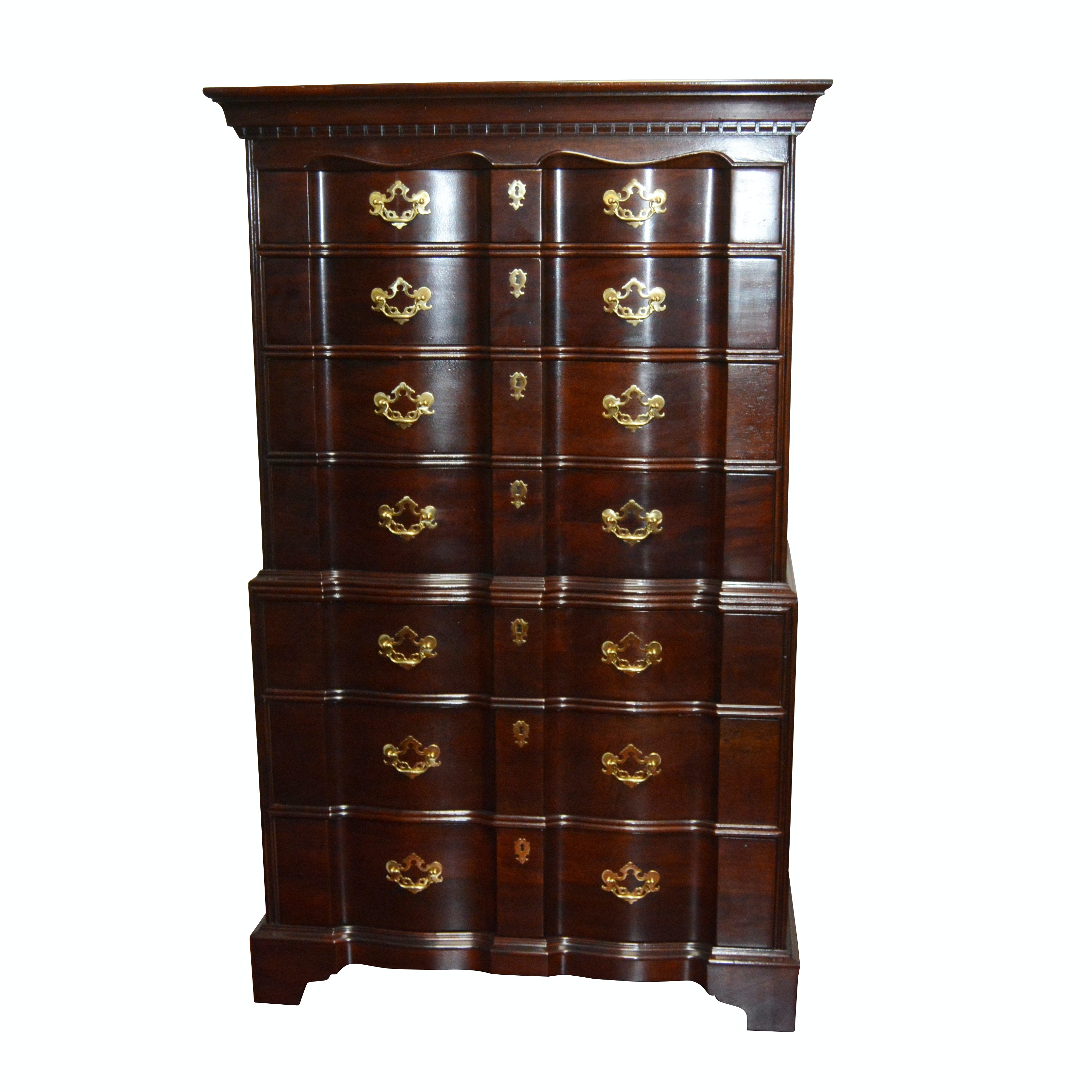 Henredon Chippendale Style Mahogany Highboy Block Front Dresser, Contemporary