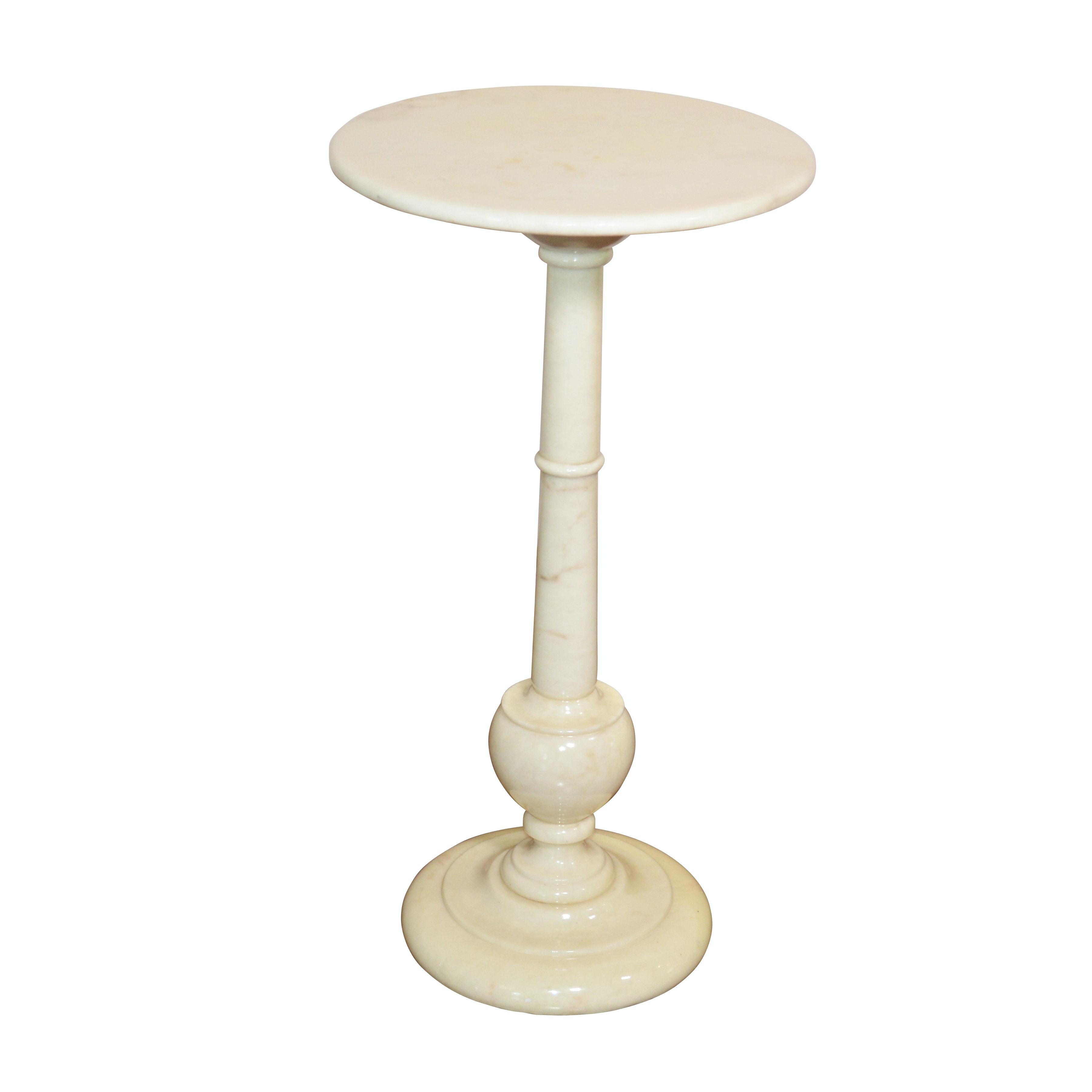 Italian Florentia Marble Pedestal Accent Table, Mid-Late 20th Century