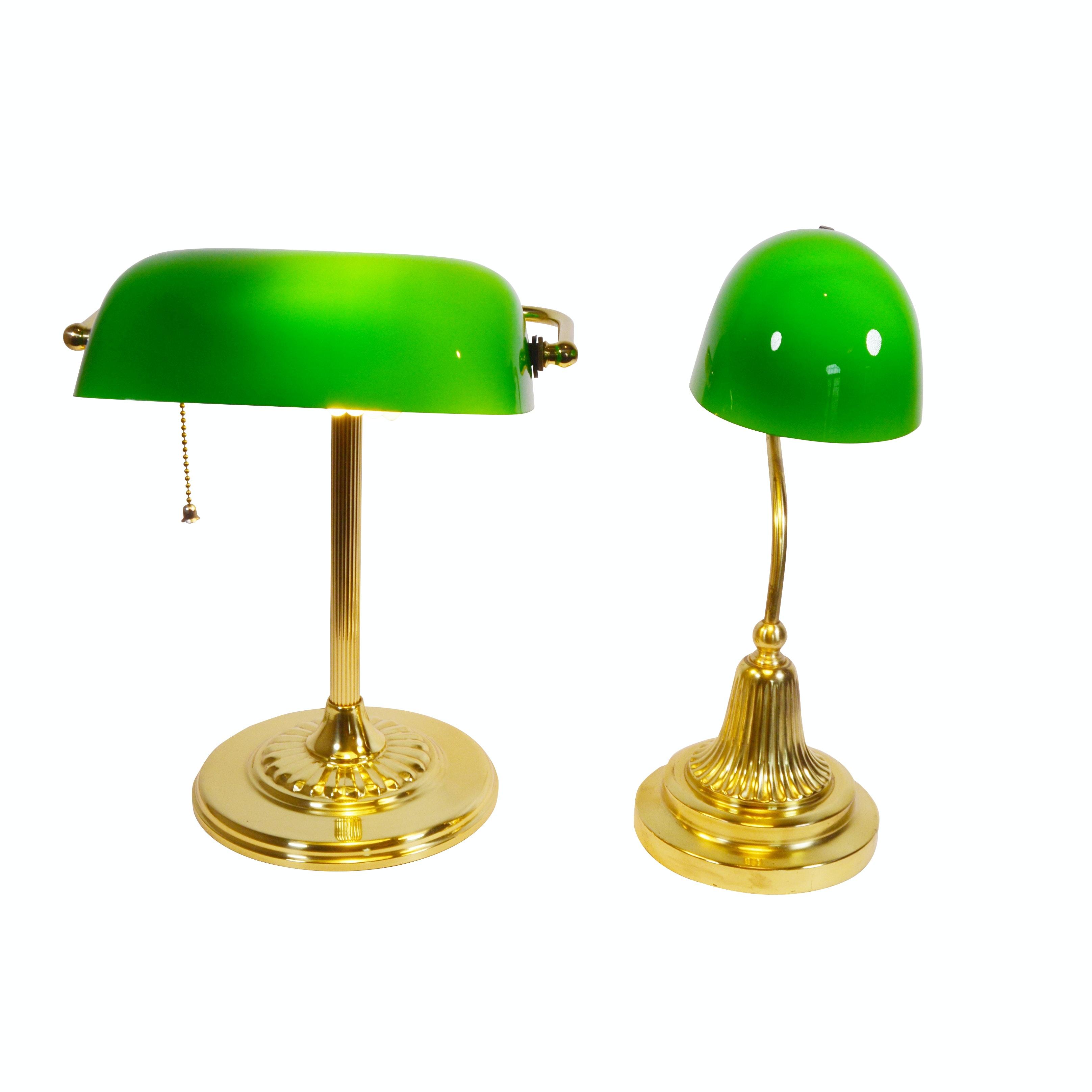 Banker Style Brass Desk Lamps