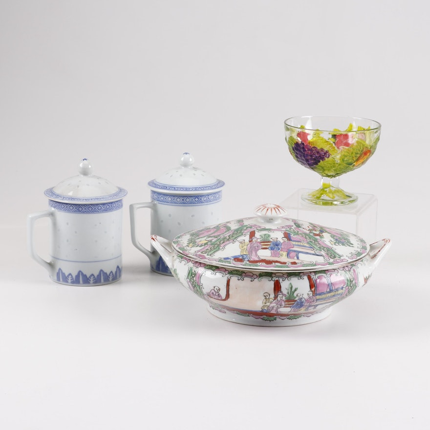 Tableware including Rose Medallion Tureen, Lidded Mugs and Pedestal Bowl