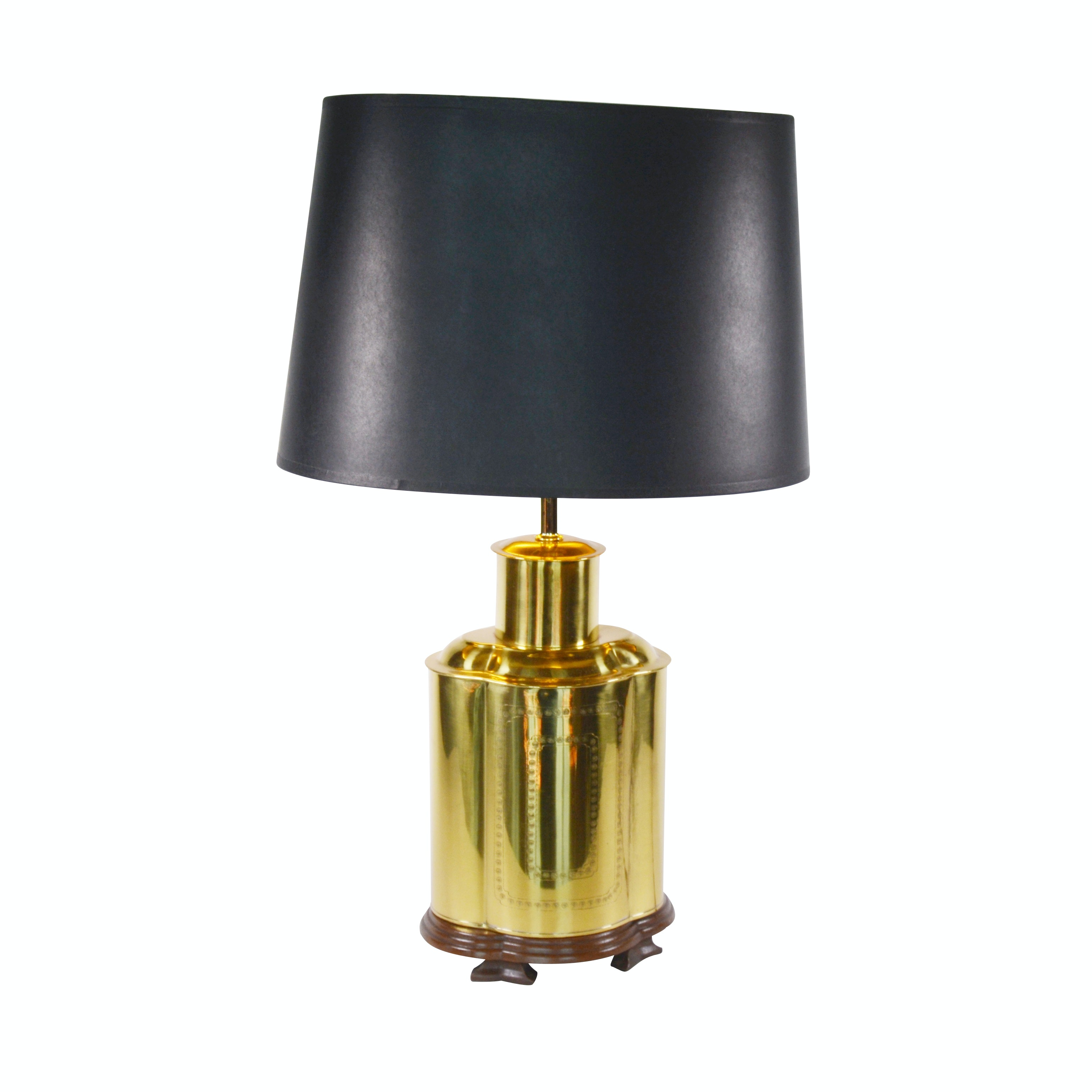 Decorative Brass Table Lamp with Oval Shade