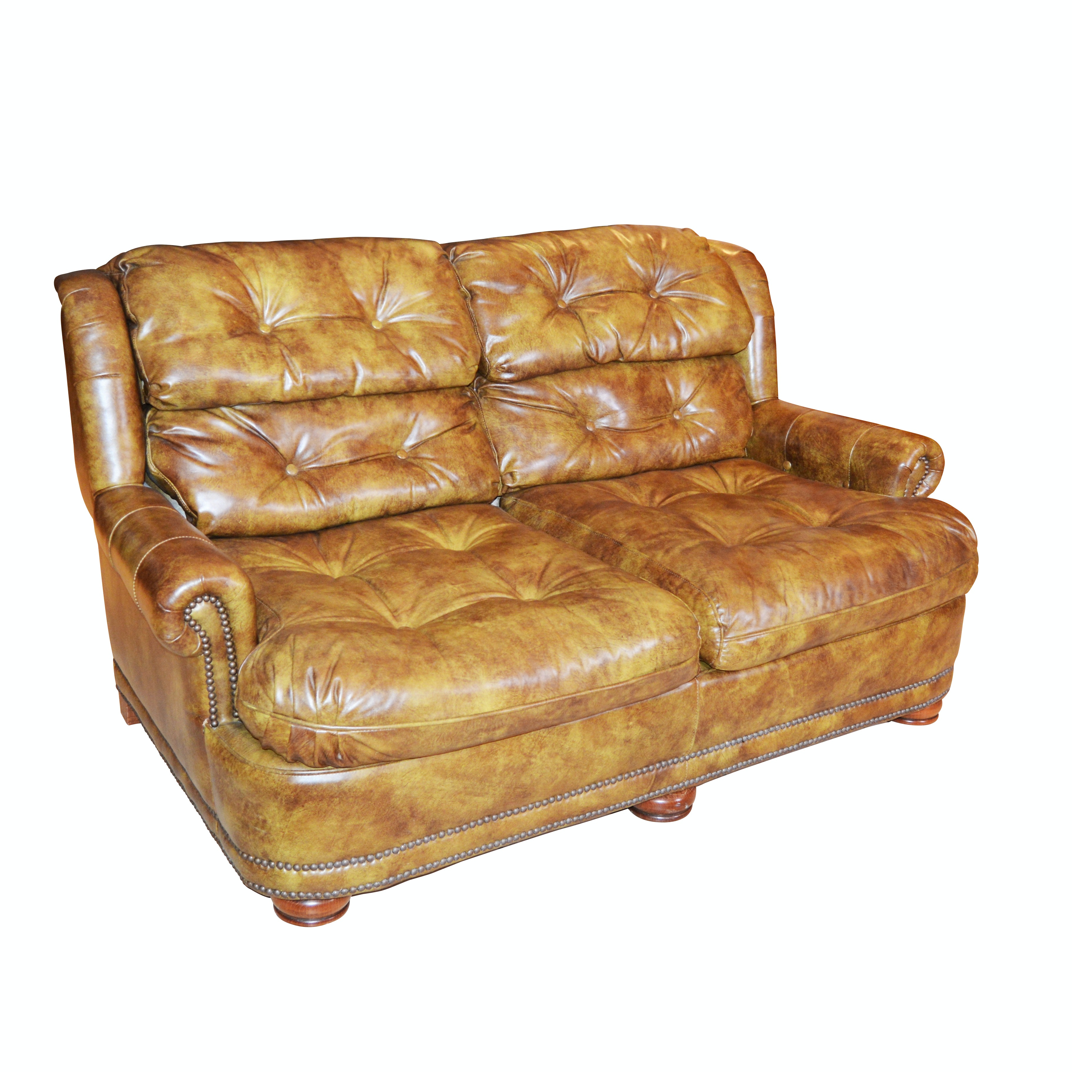 Tufted Mottled Leather Loveseat, Contemporary