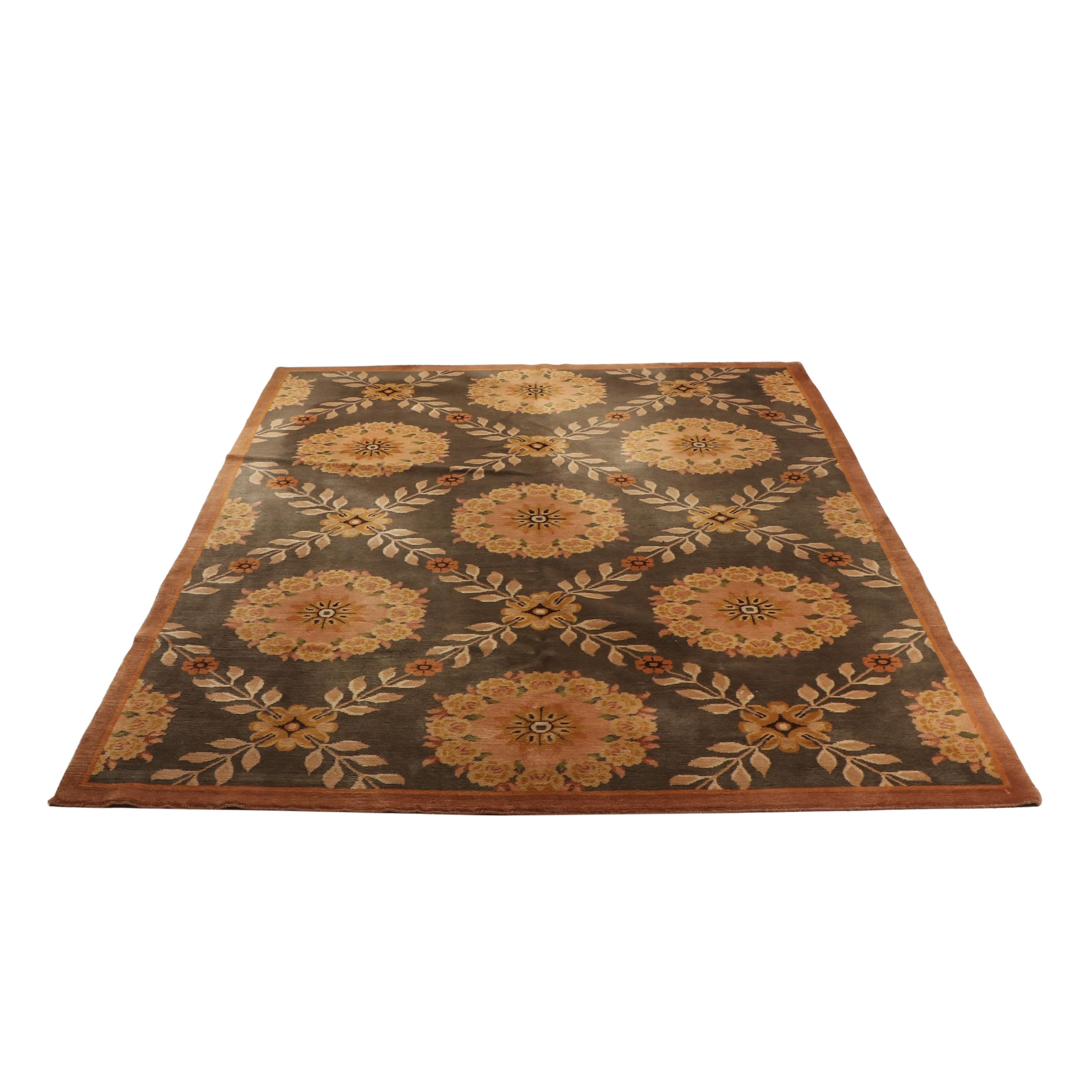 Hand-Knotted Indian Floral Lattice Wool Rug