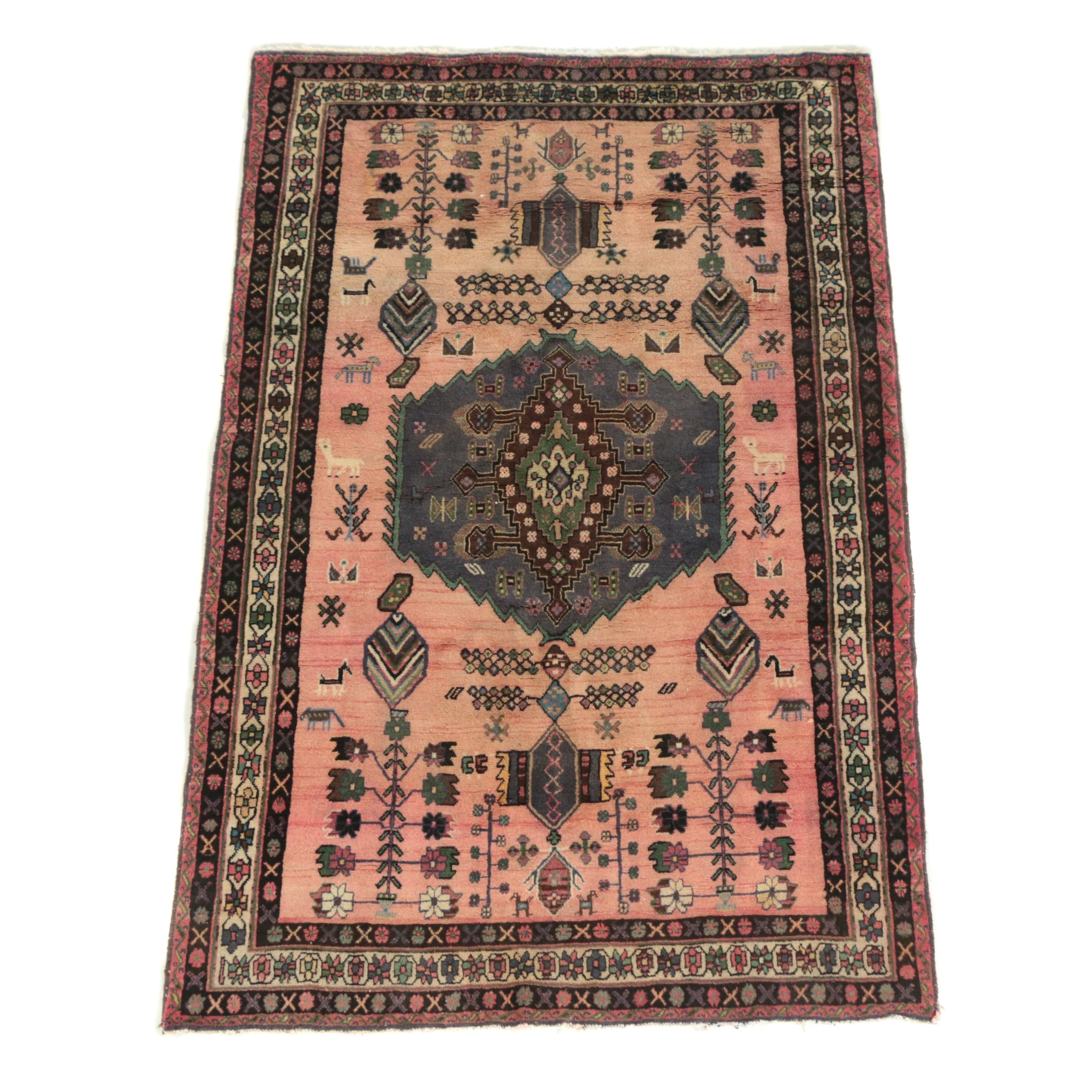 Hand-Knotted Persian Tribal Wool Area Rug
