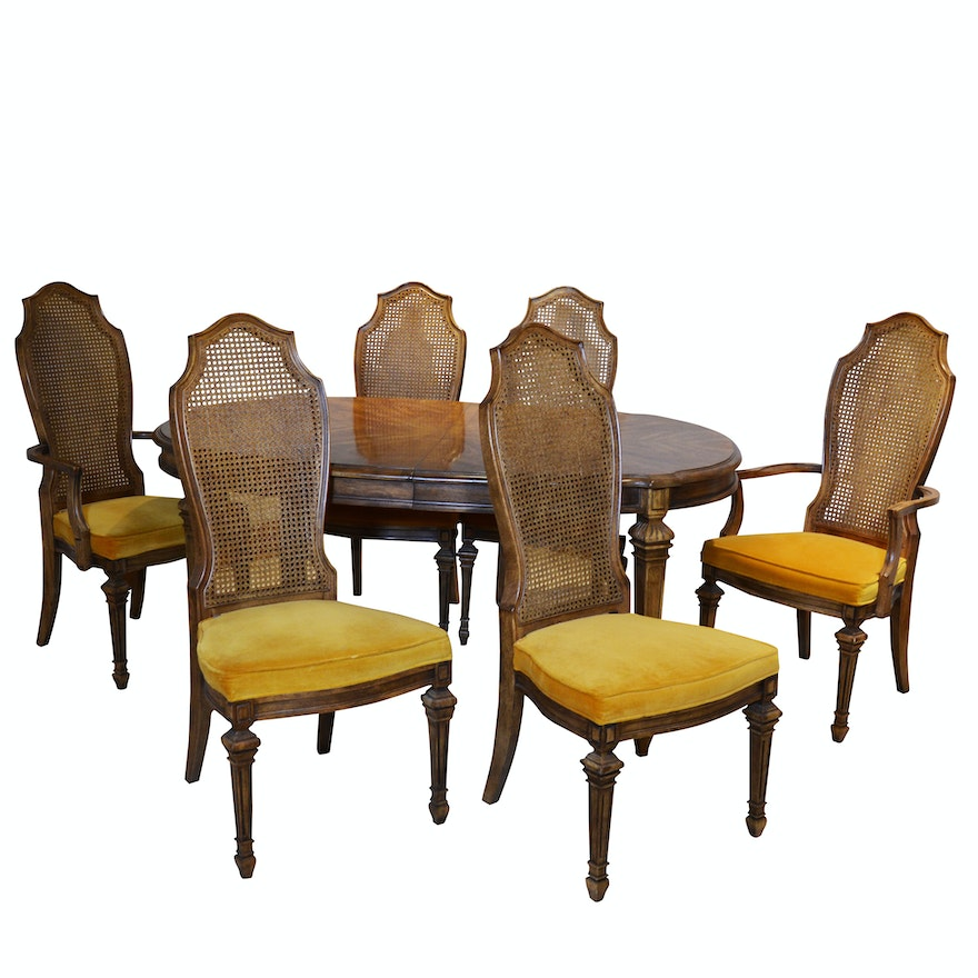 Hibriten Furniture Co Transitional Style Fruitwood Dining Table And Cane Chairs
