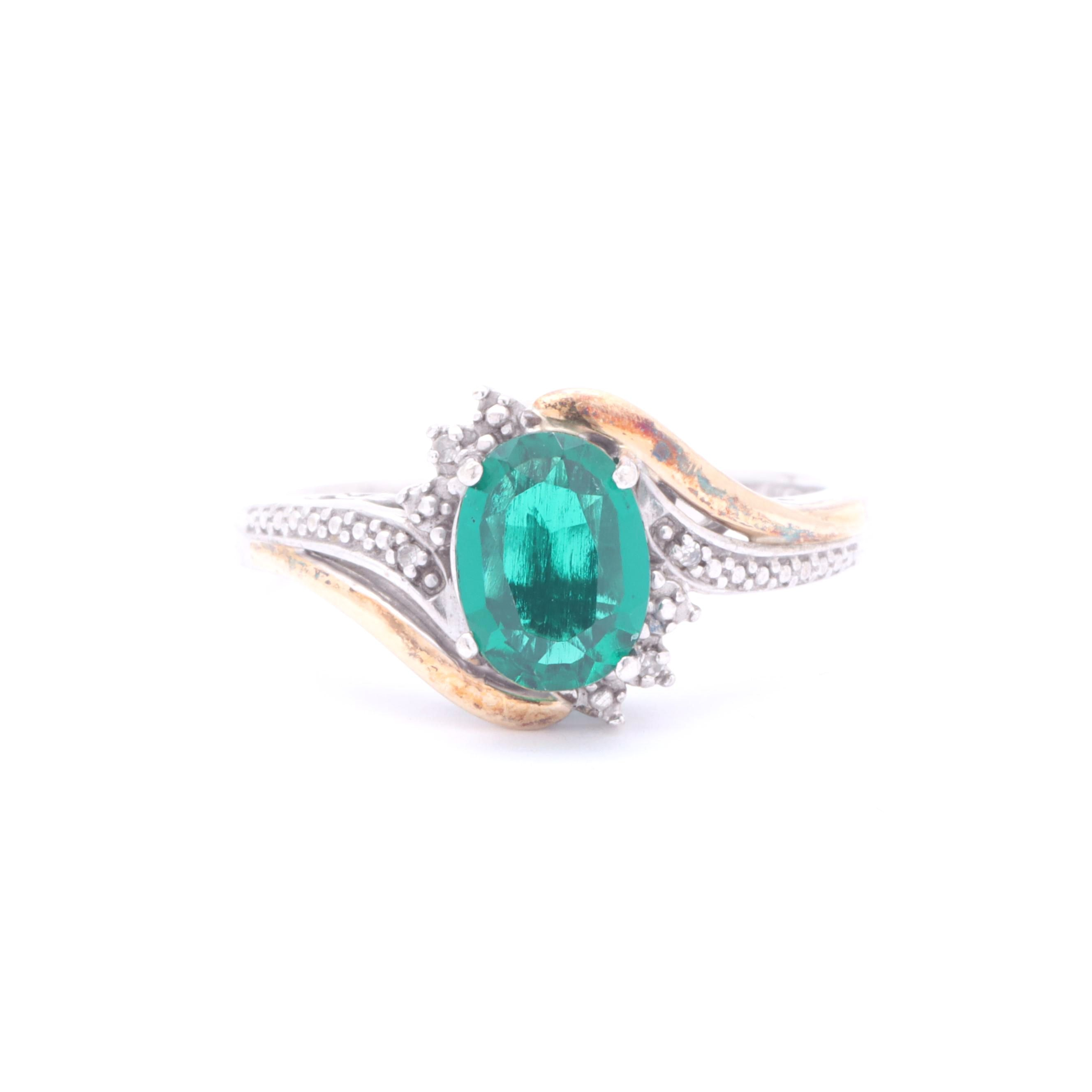 Sterling Silver and 10K Yellow Gold Diamond and Synthetic Emerald Ring