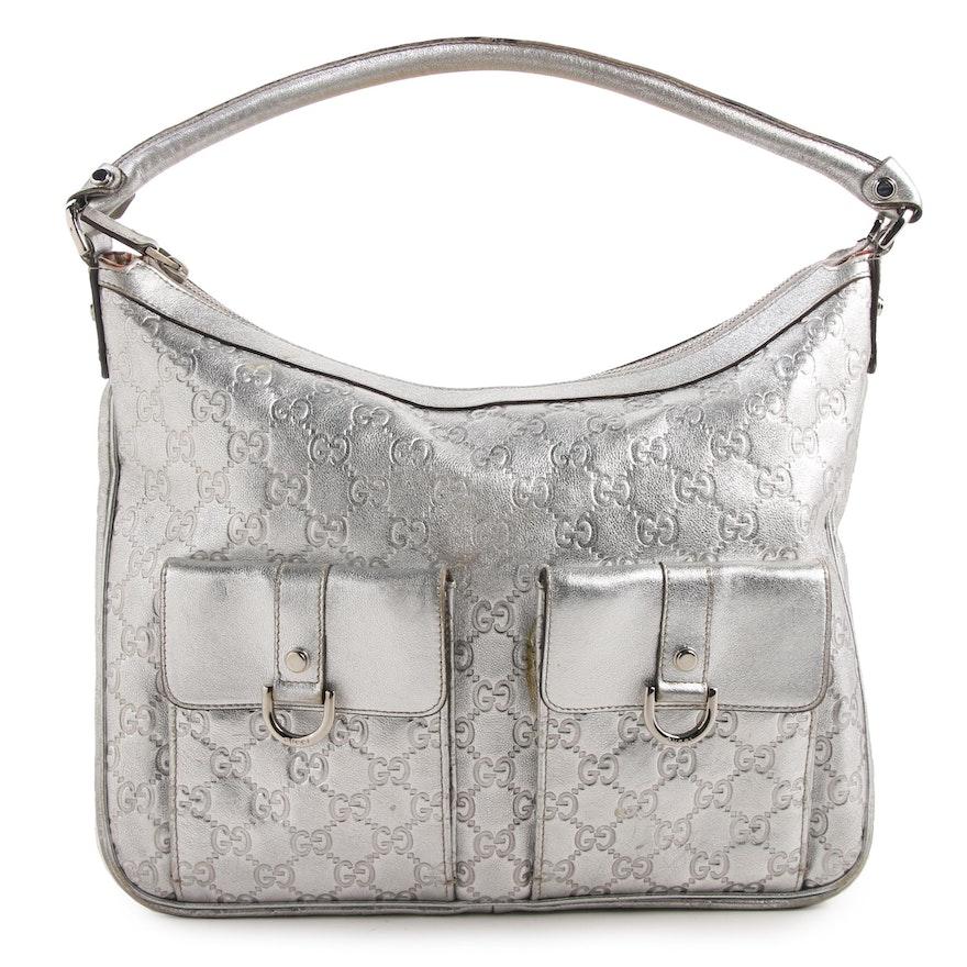 67439825630e46 Gucci Abbey Hobo Bag in Metallic Silver Guccissima Leather   EBTH