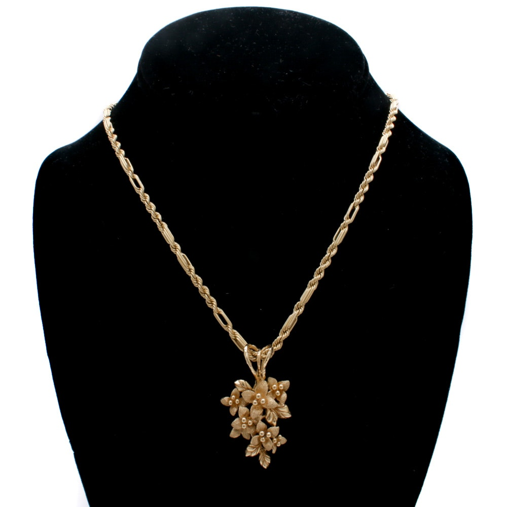 14K Yellow Gold Flower Pendant on Fancy Rope Link Necklace Chain, Vintage