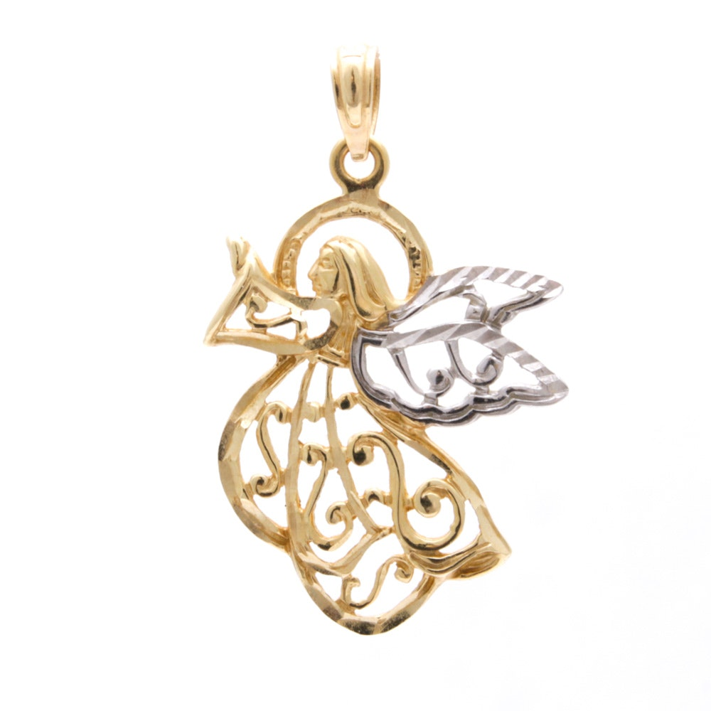 14K White and Yellow Gold Angel Pendant Necklace