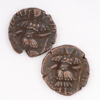 Two Copper Dinar Coins of Toramana II, Kidarites of Kashmir, ca. 570 A.D.