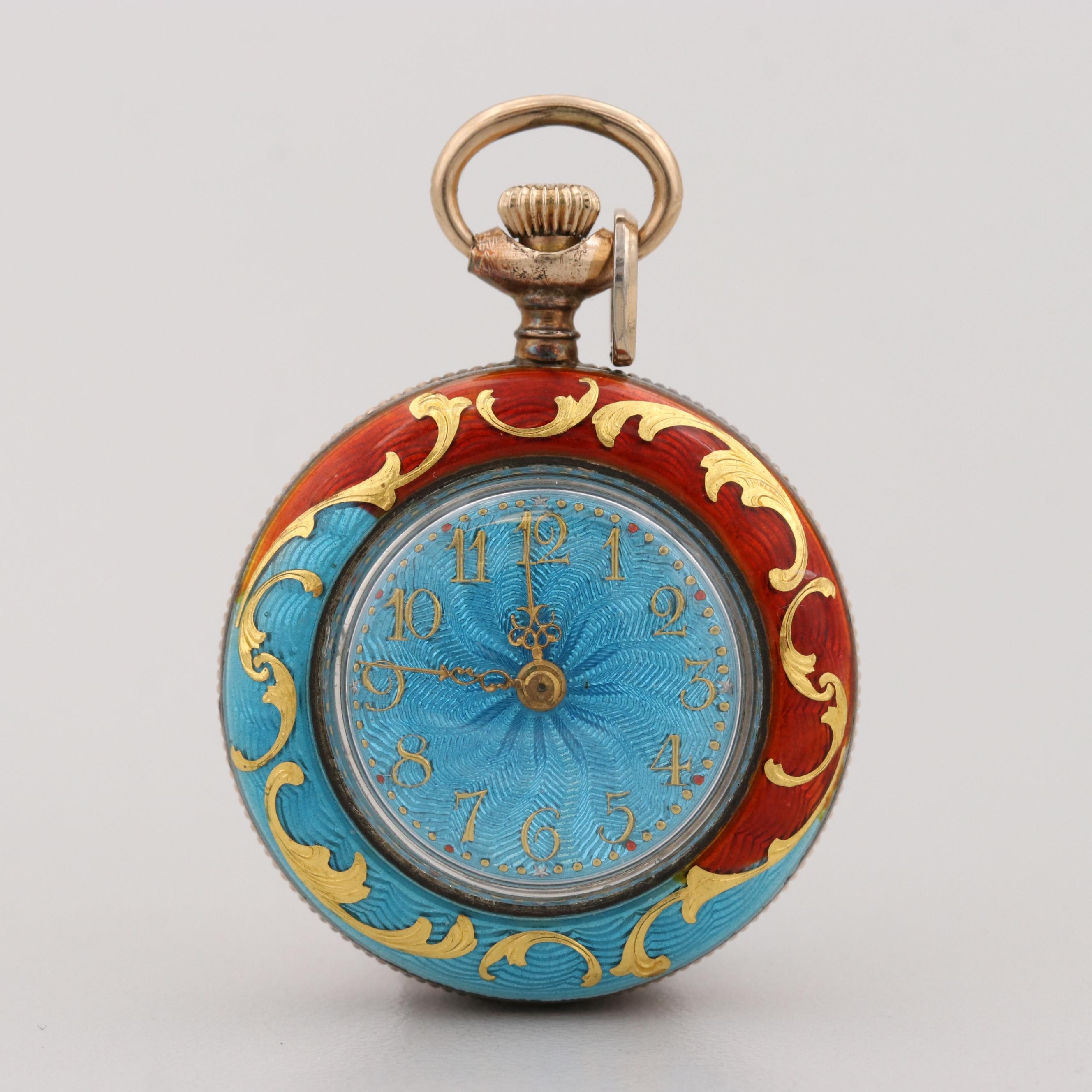 Vintage Swiss Gold Wash on Sterling Silver and Enamel Open Face Pocket Watch