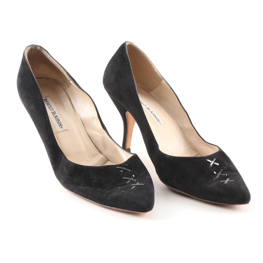 9d47fb84a0b Manolo Blahnik Black Suede Pumps with Crisscross Patent Leather
