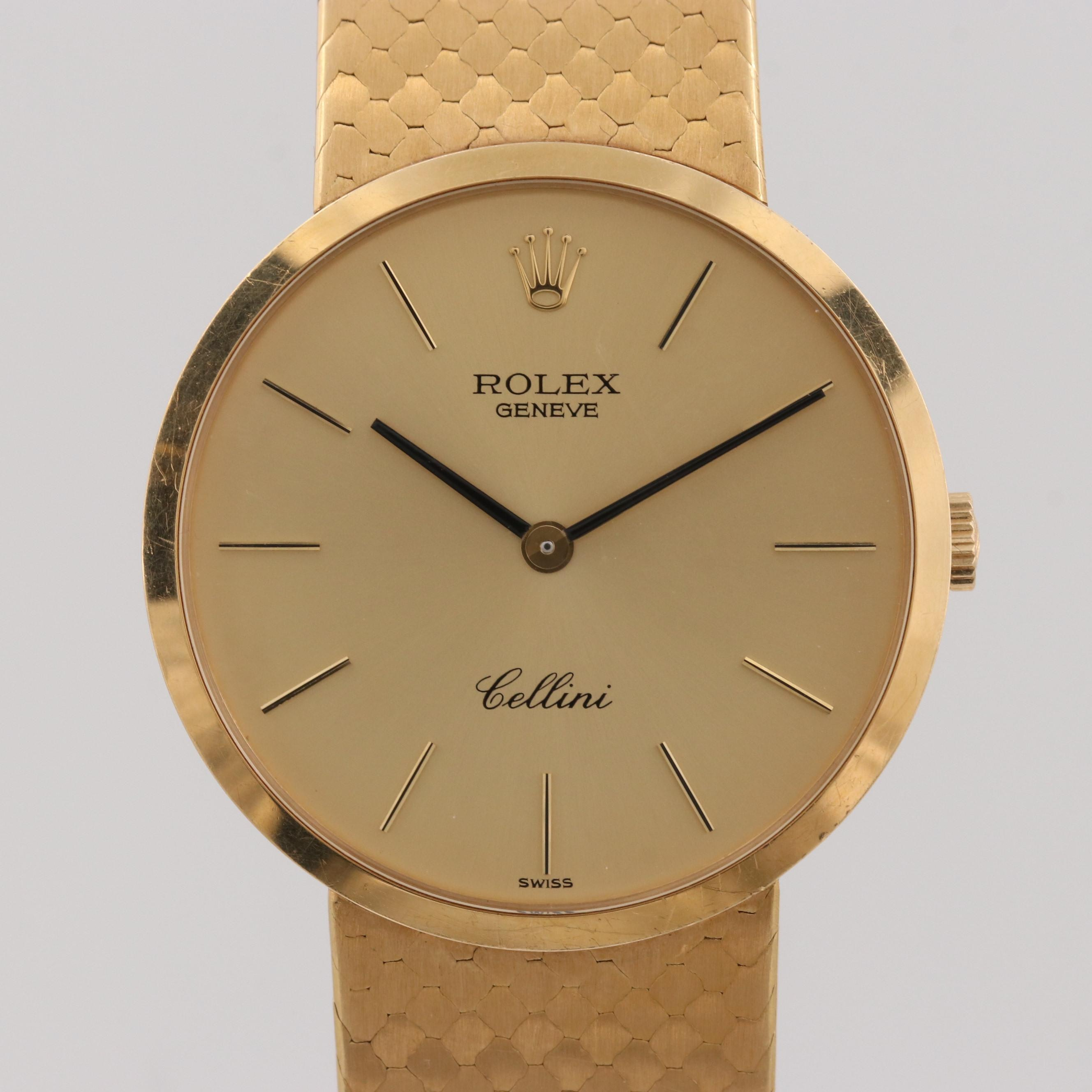Vintage Rolex Cellini 18k Yellow Gold Stem Wind Wristwatch, 1976