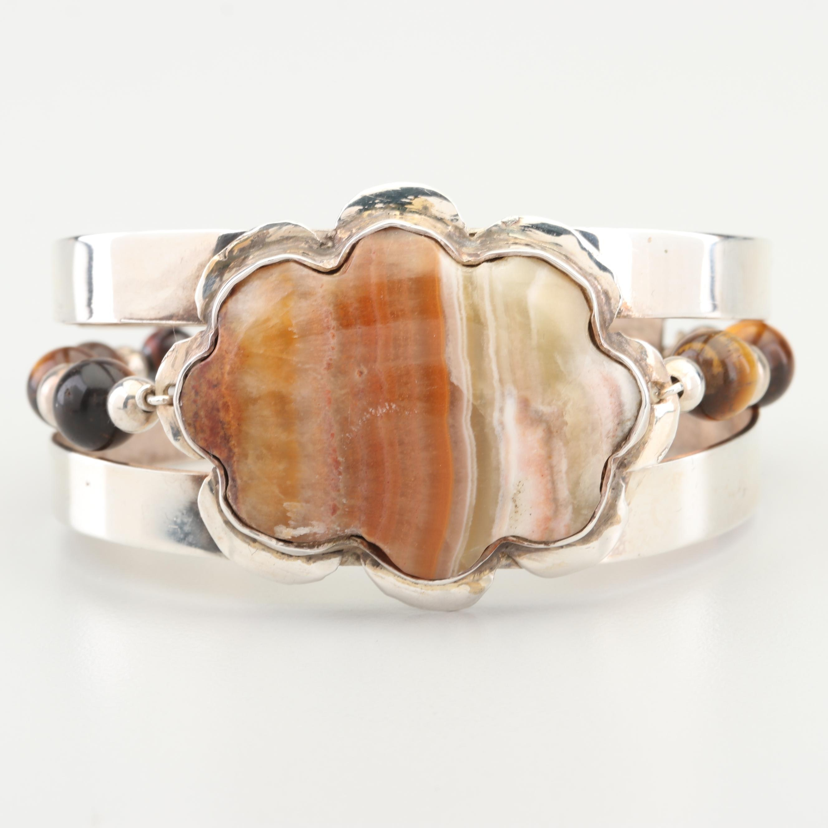 Bill Kirkham Handcrafted Sterling Silver Agate and Tigers Eye Cuff Bracelet