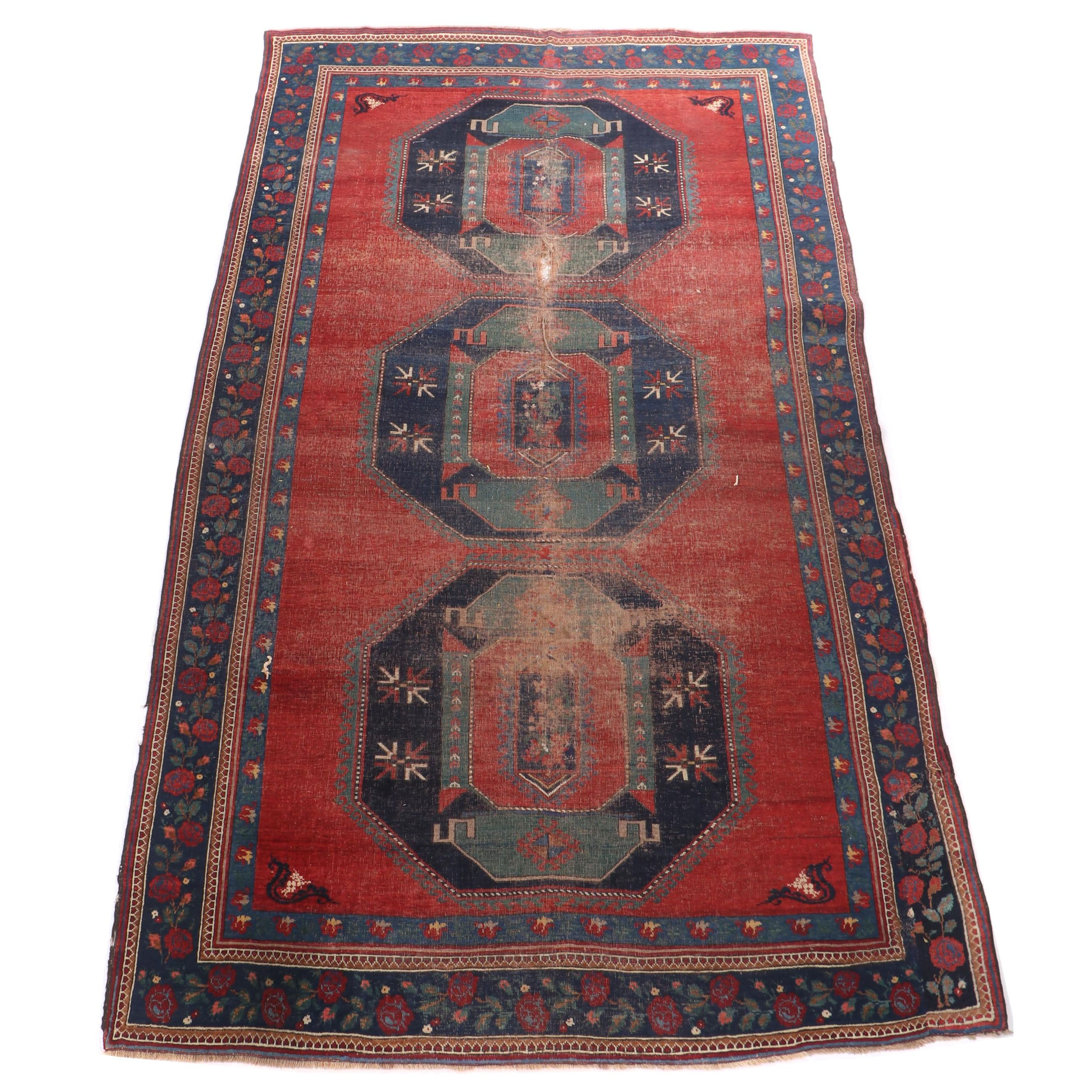 Hand-Knotted Caucasian Kazak Wool Room Sized Rug