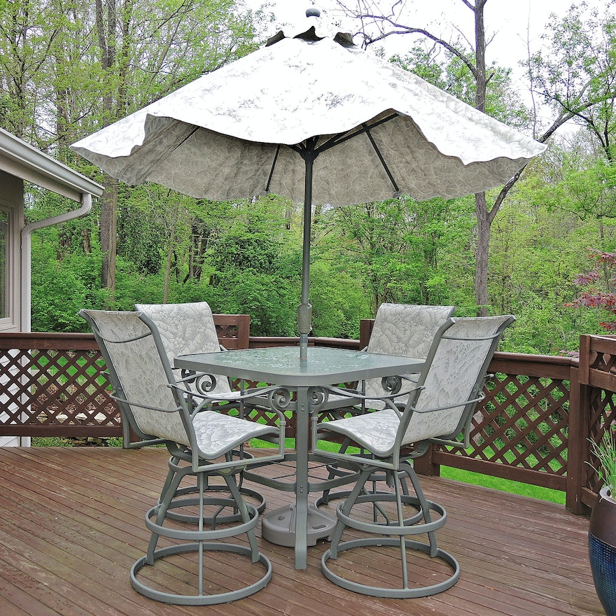 Miraculous Outdoor Patio Table And Swivel Chair Set With Umbrella By Winston Furniture Caraccident5 Cool Chair Designs And Ideas Caraccident5Info