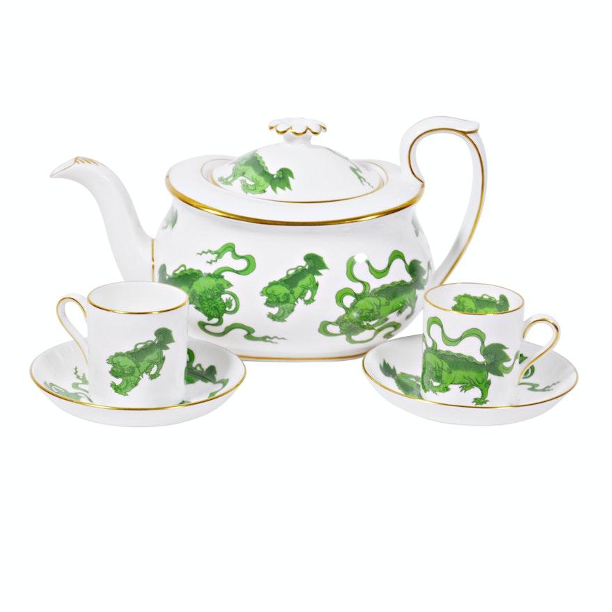 "Wedgwood ""Green Chinese Tigers"" Porcelain Tea Set"