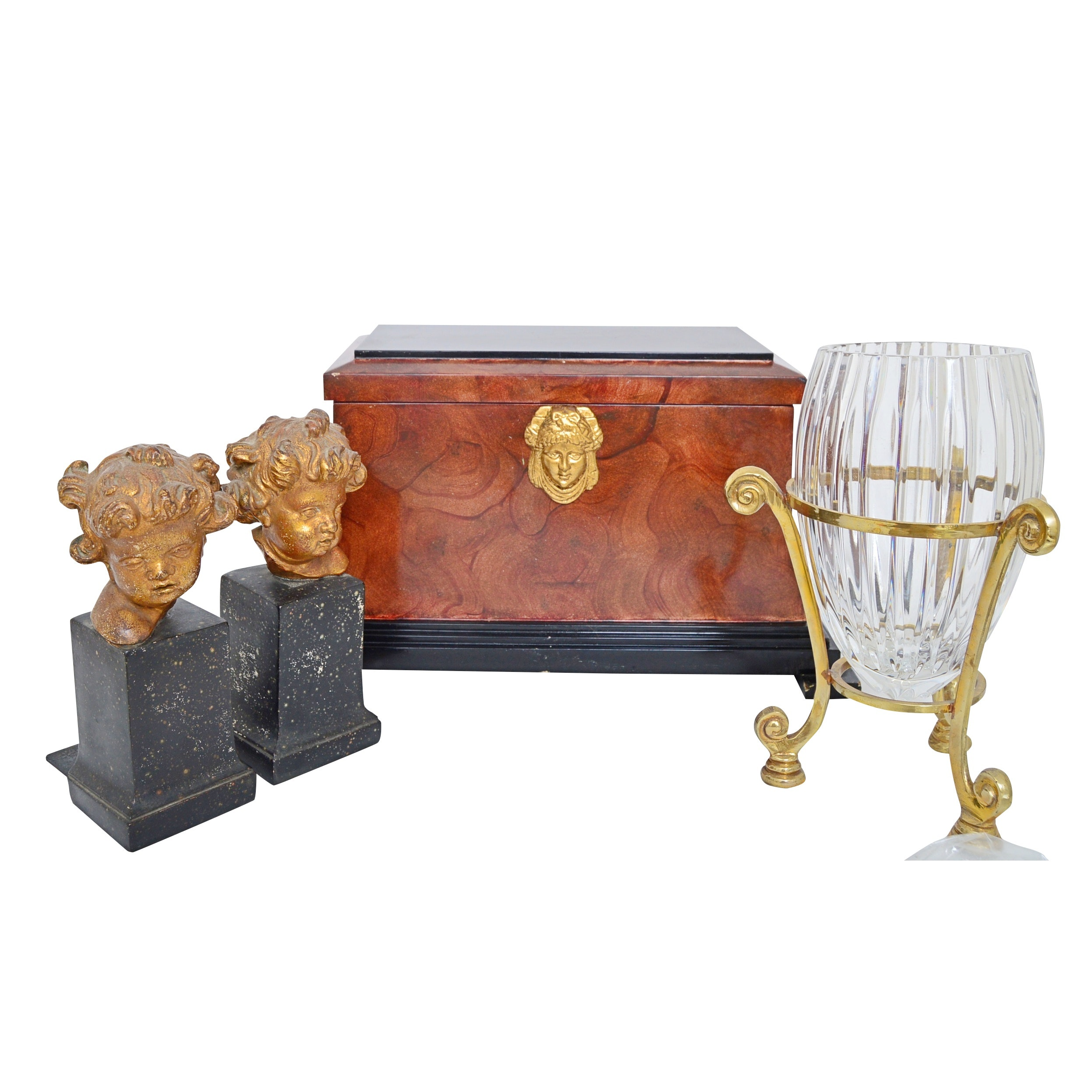 Neoclassic Style Wood Box, Gilded Cupid Bookends and Crystal Vase with Stand