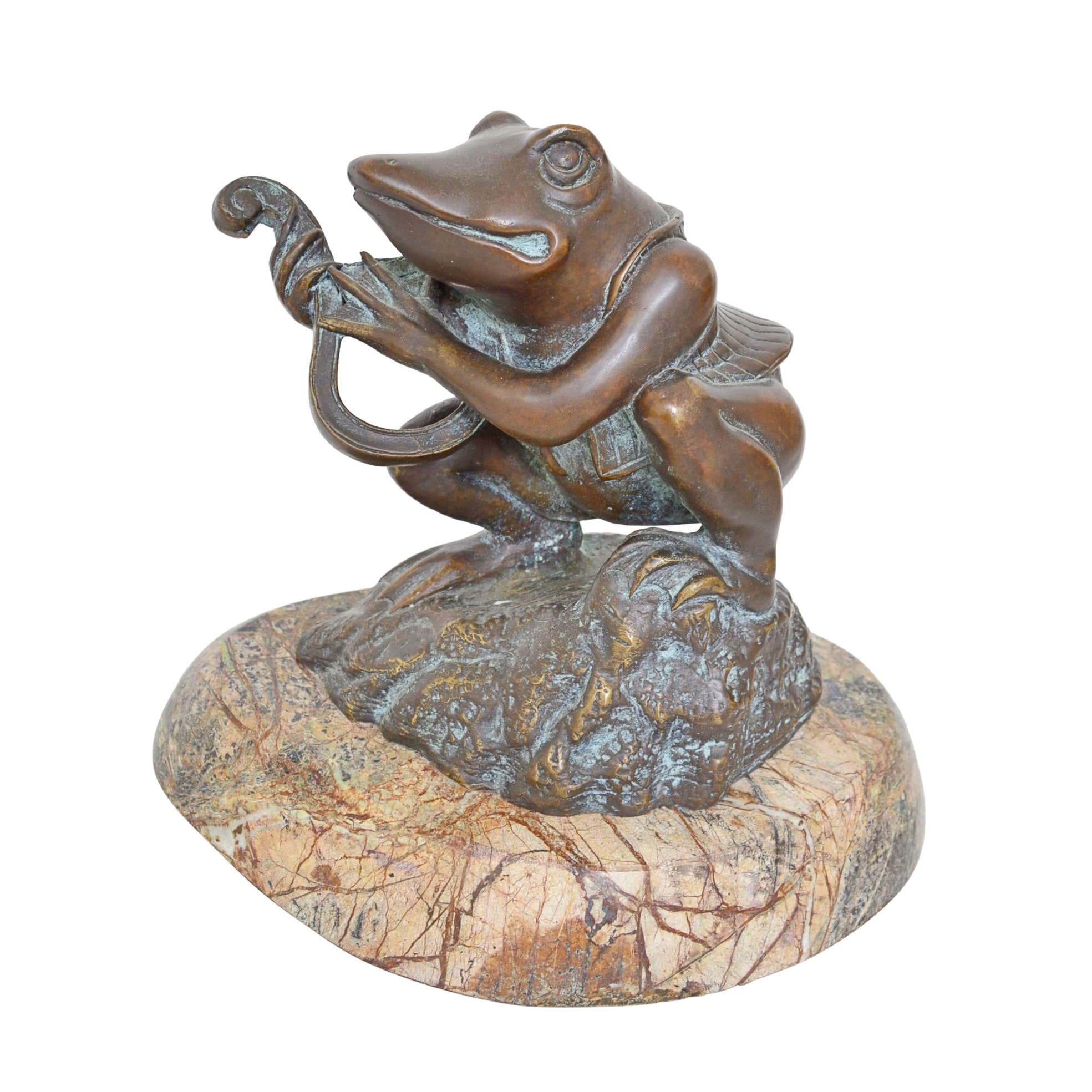 Bronze Frog Sculpture on Marble Base