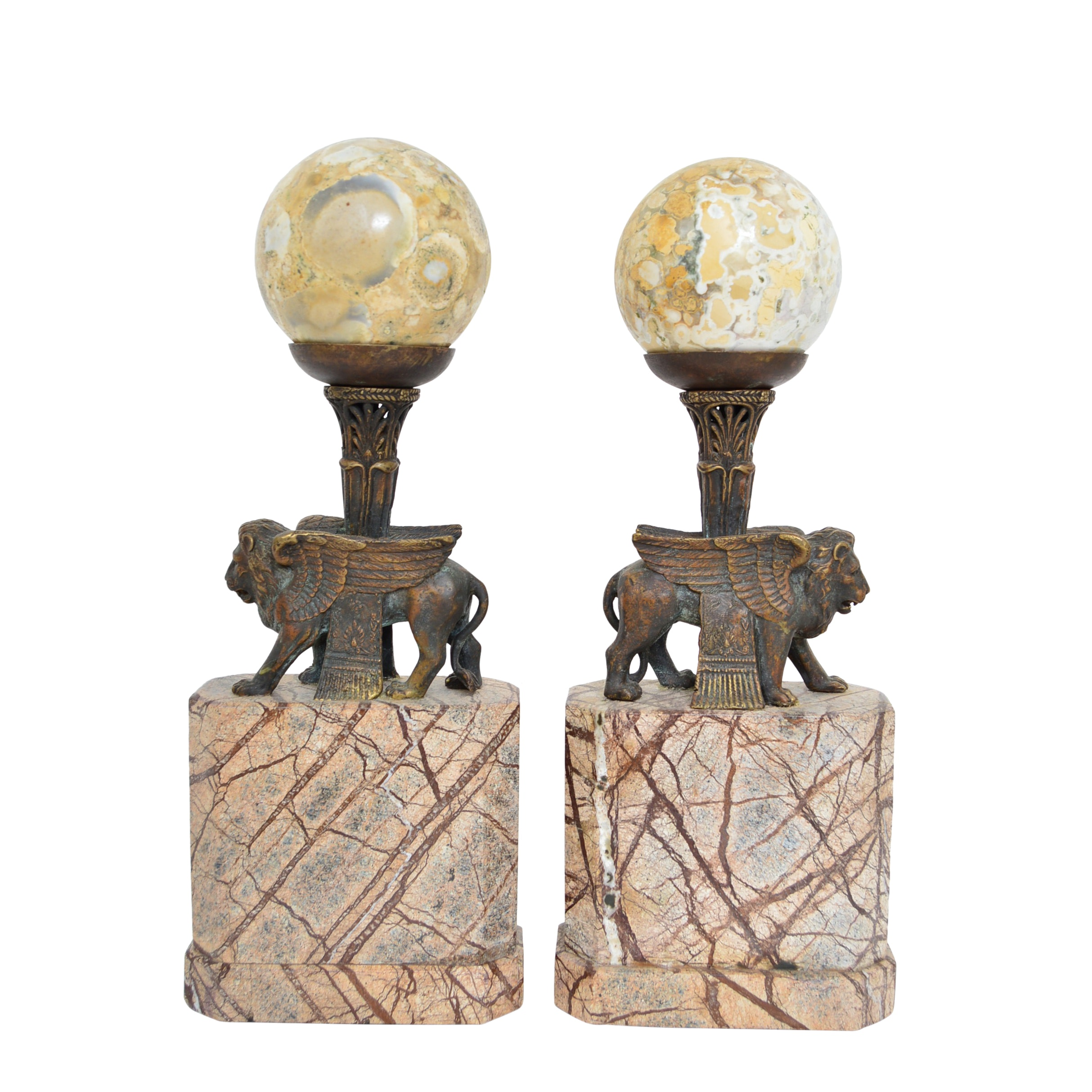 Neoclassic Style Bookends with Brass Winged Lions and Marble Orbs