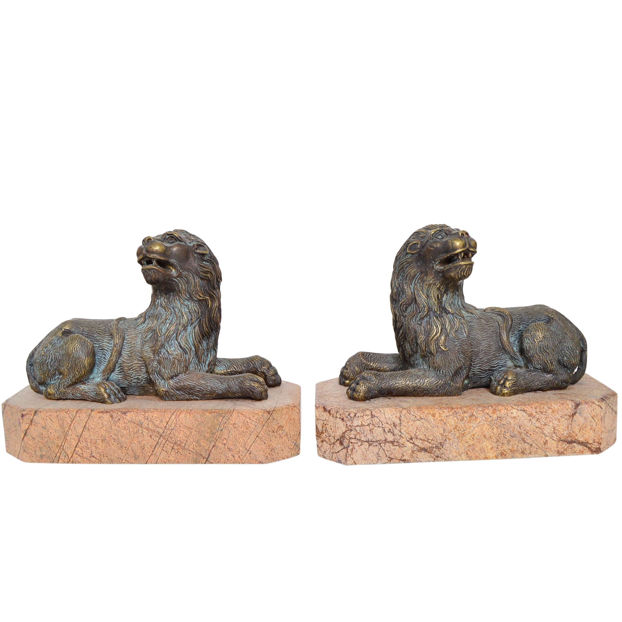 Pair of Marble and Brass Lion Bookends